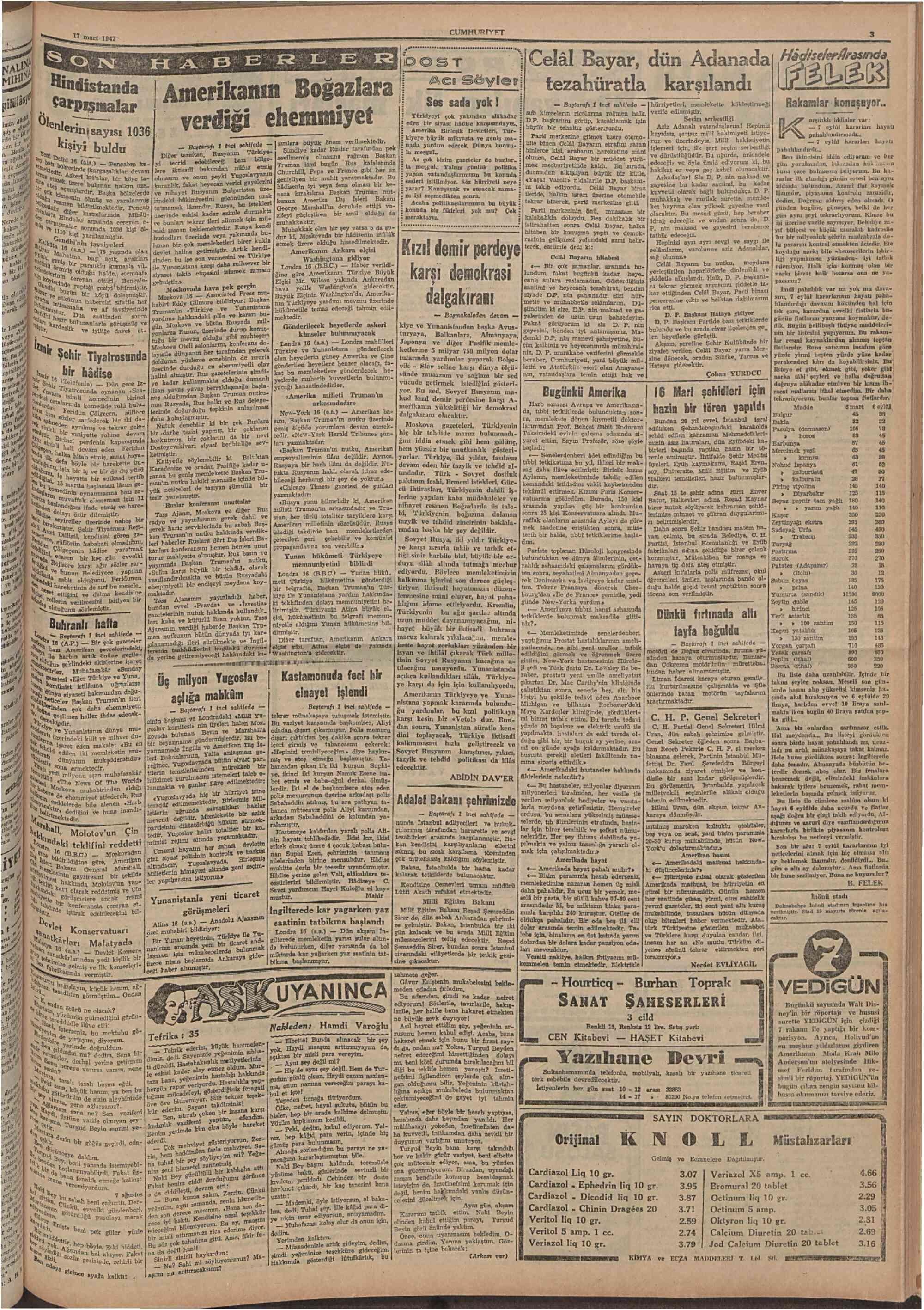 17 Mart 1947 Tarihli Cumhuriyet Gazetesi Sayfa 3