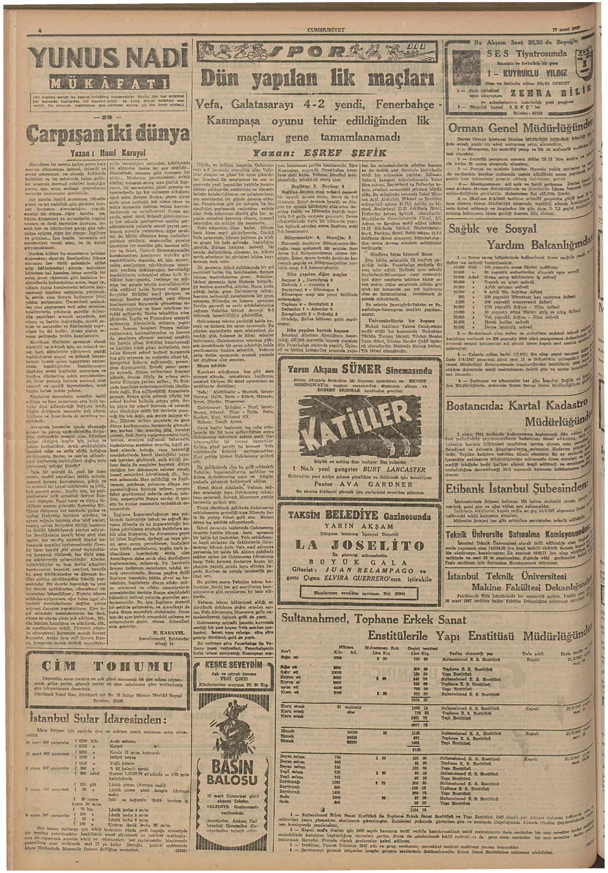 17 Mart 1947 Tarihli Cumhuriyet Gazetesi Sayfa 4
