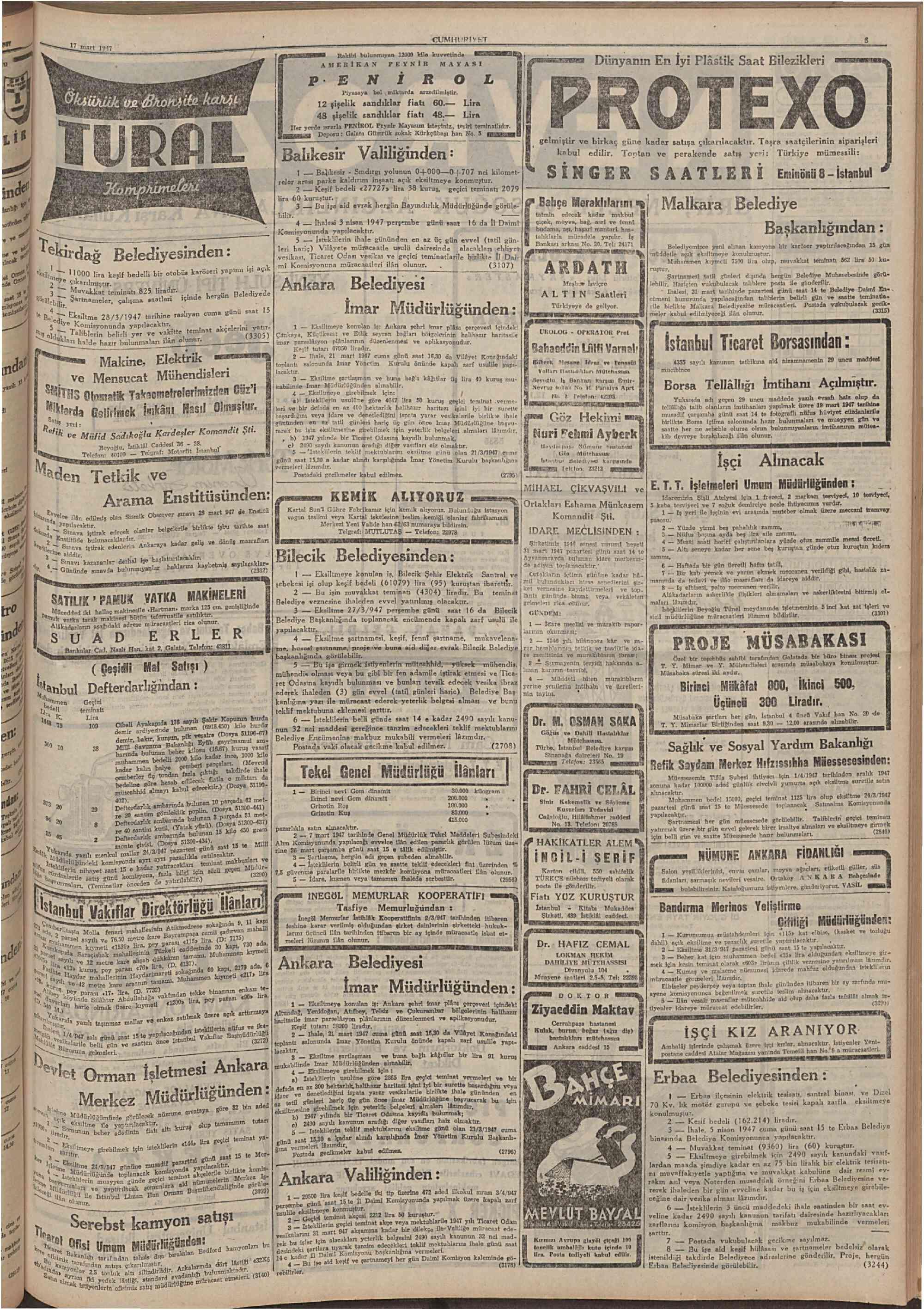 17 Mart 1947 Tarihli Cumhuriyet Gazetesi Sayfa 5