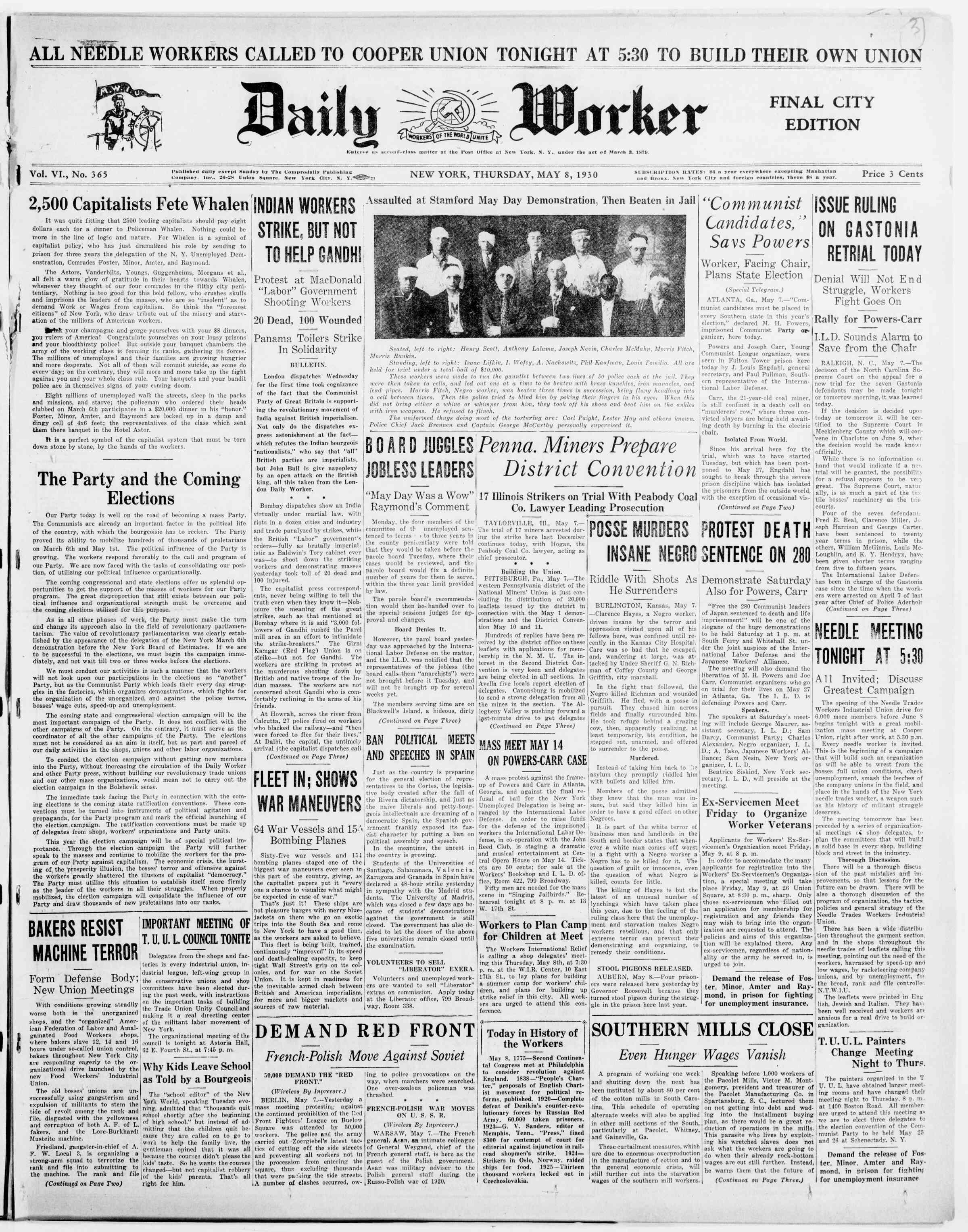 8 Mayıs 1930 tarihli The Daily Worker Gazetesi Sayfa 1