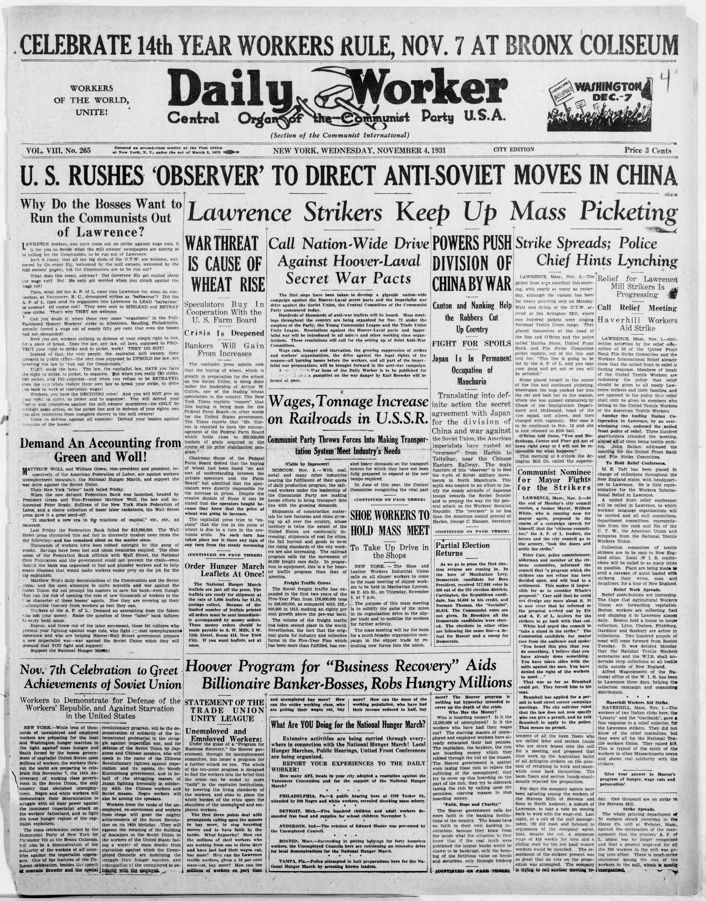 4 Kasım 1931 tarihli The Daily Worker Gazetesi Sayfa 1