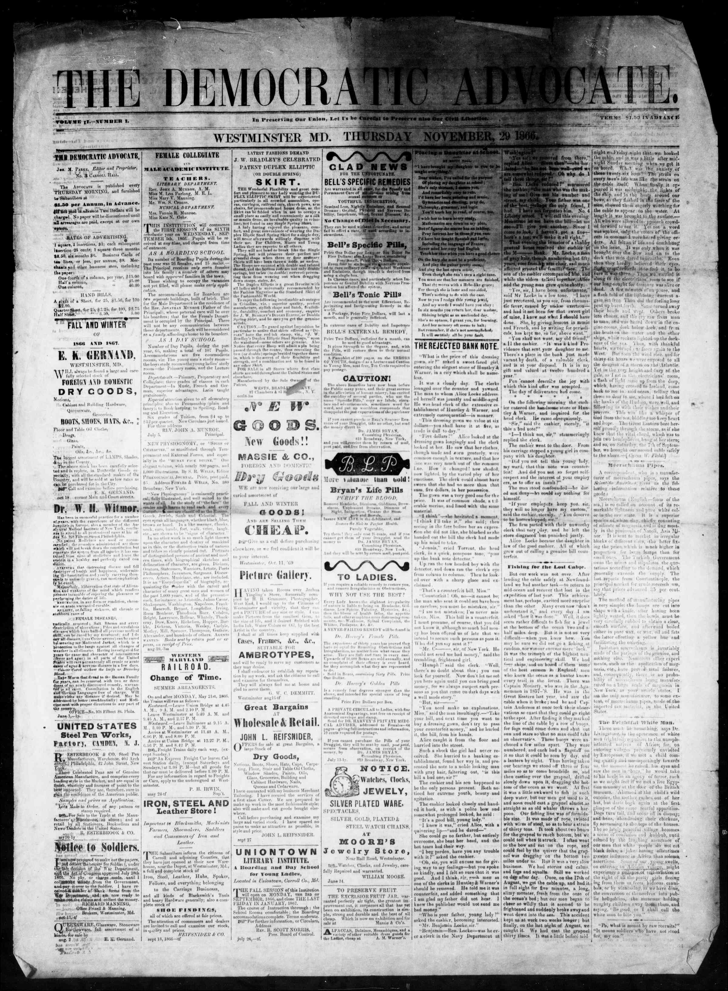 Newspaper of The Democratic Advocate dated November 29, 1866 Page 1