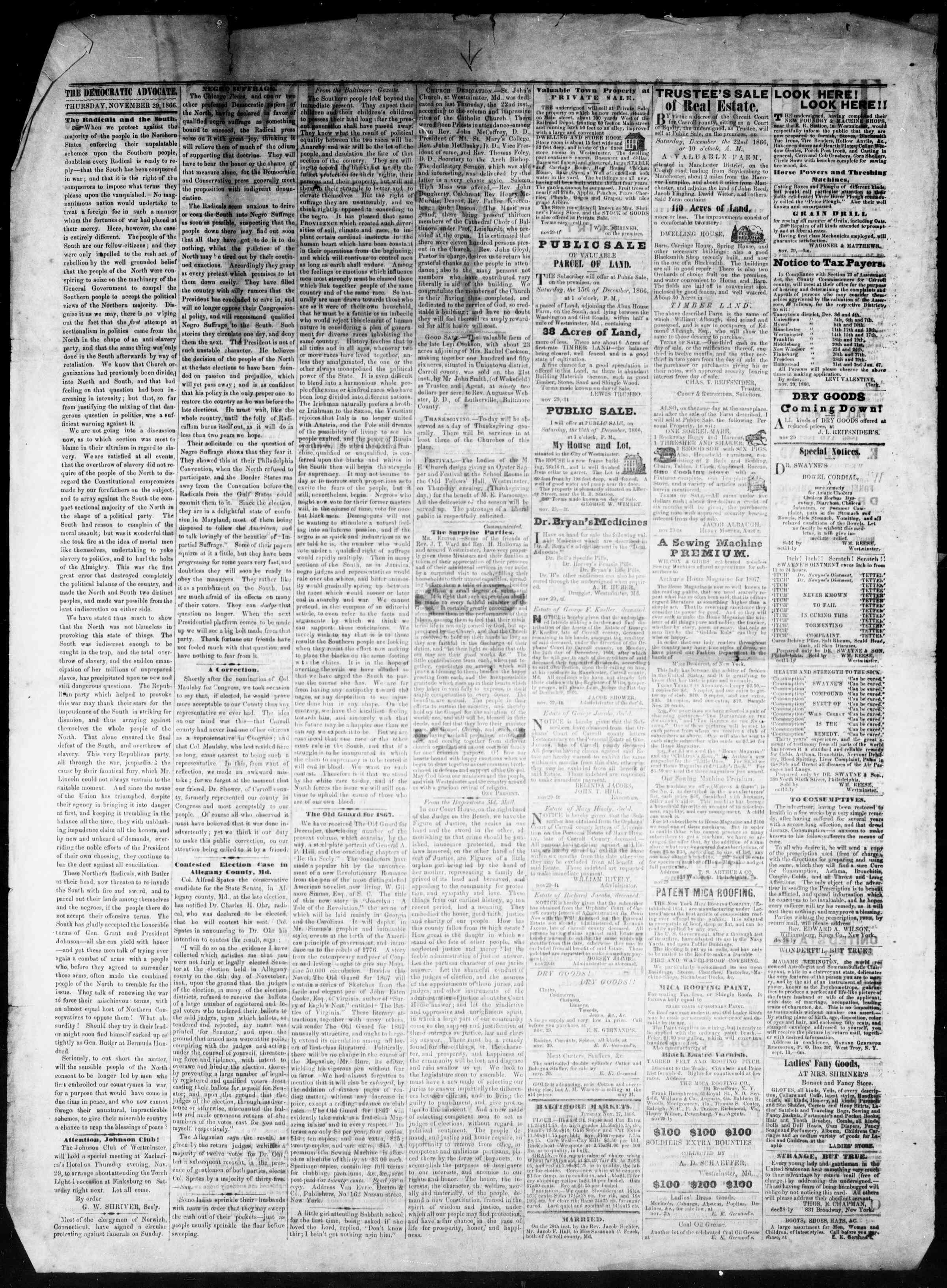 Newspaper of The Democratic Advocate dated November 29, 1866 Page 2