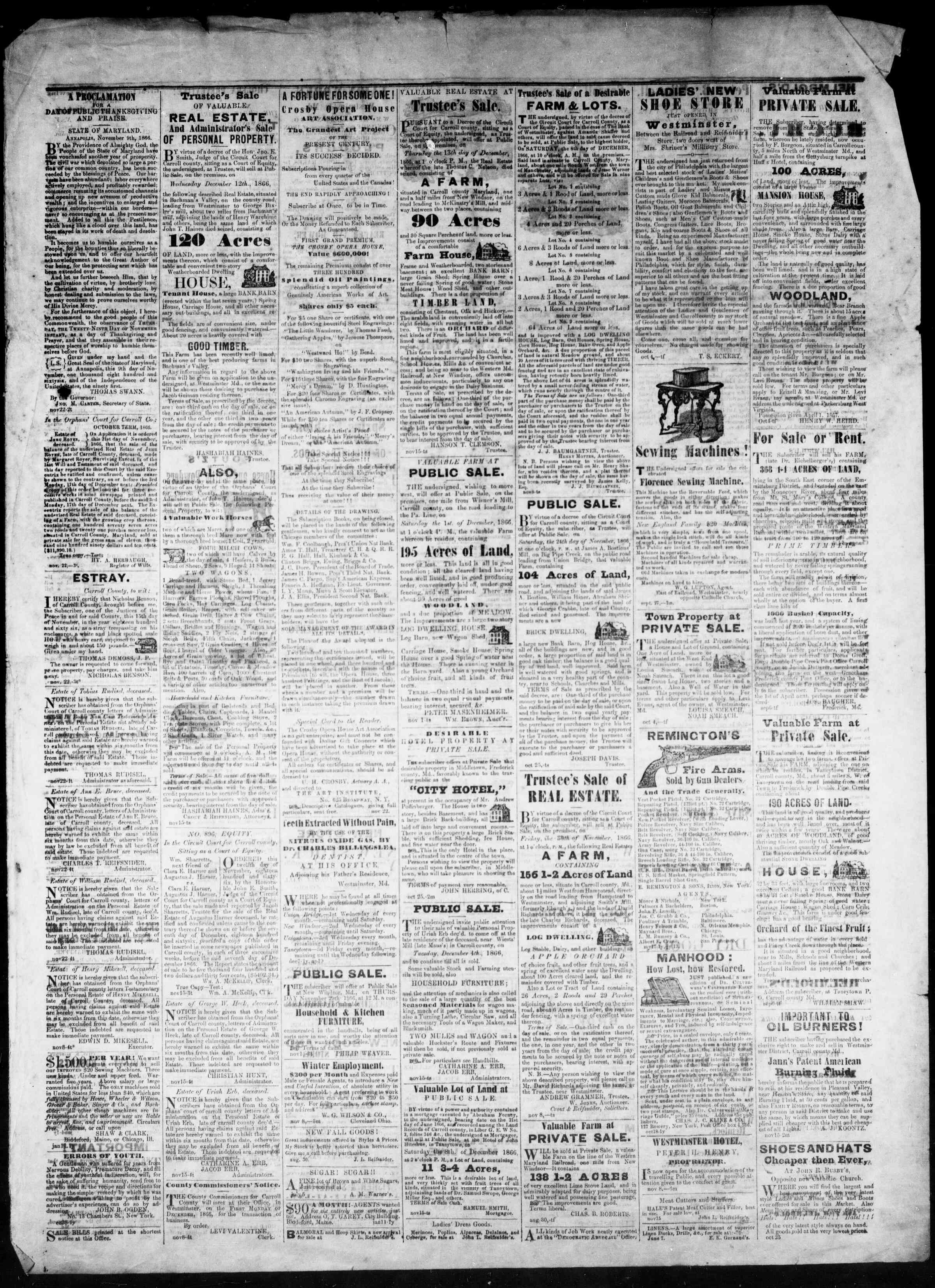 Newspaper of The Democratic Advocate dated November 29, 1866 Page 3