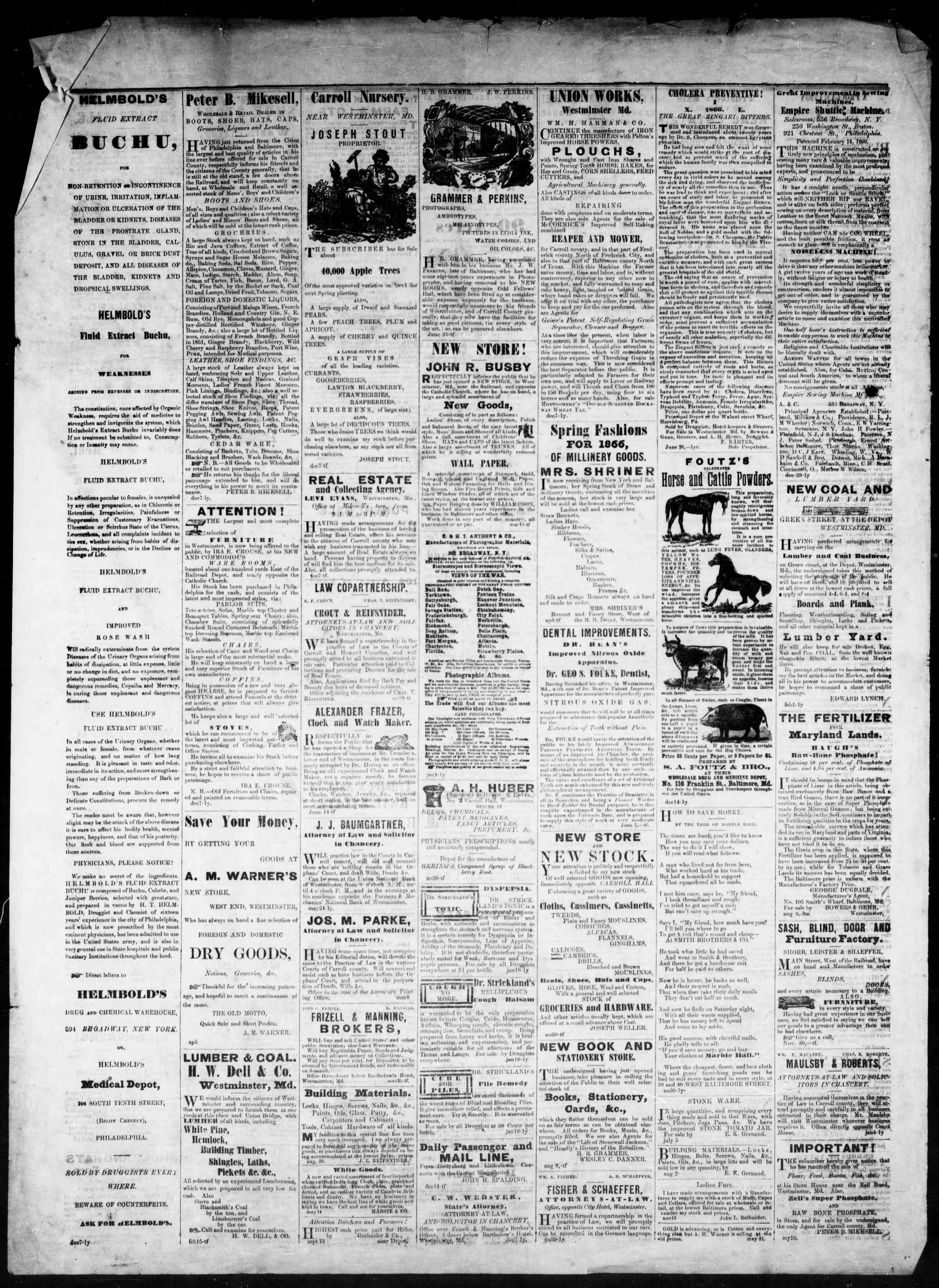 Newspaper of The Democratic Advocate dated November 29, 1866 Page 4