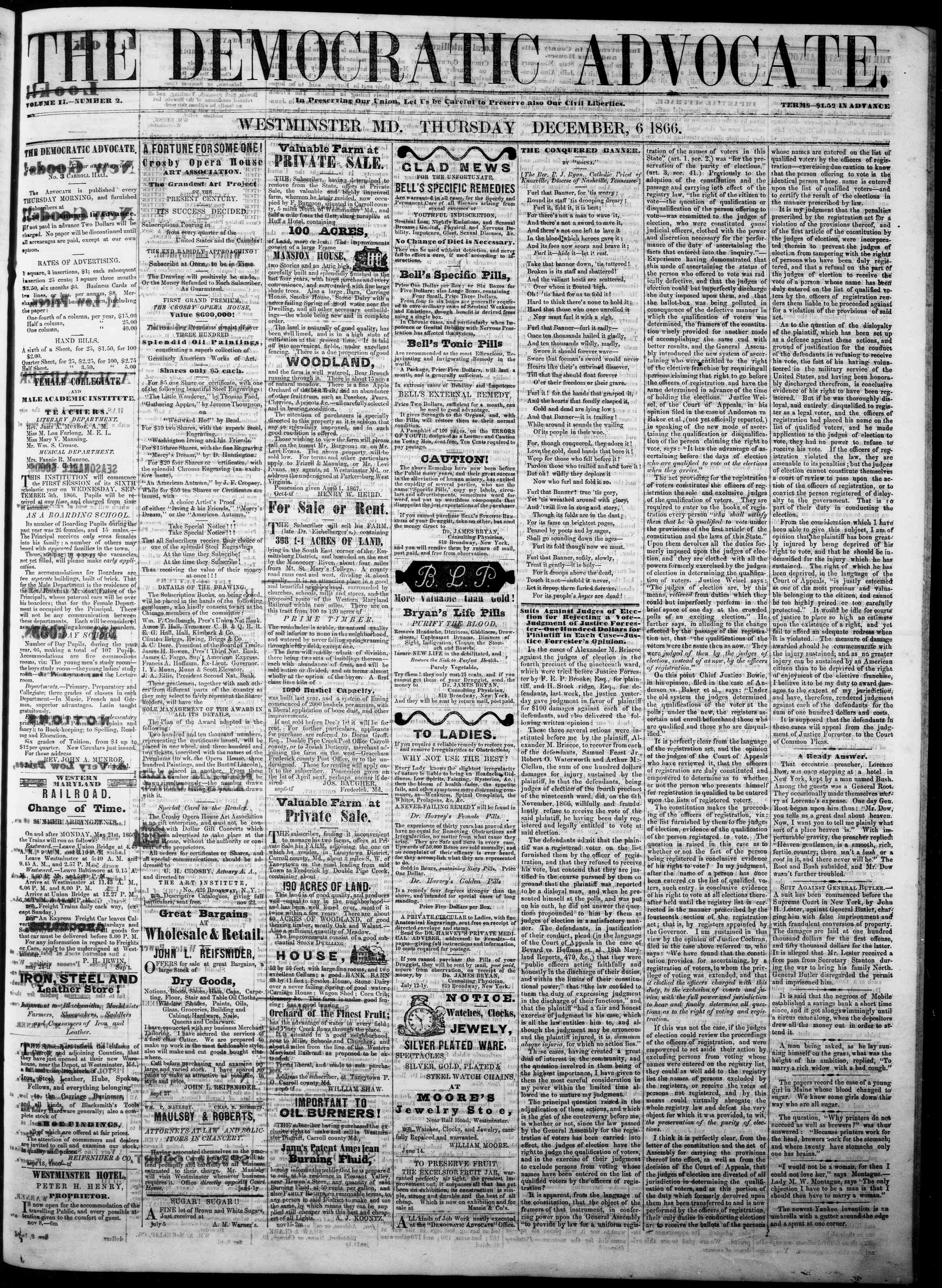 Newspaper of The Democratic Advocate dated December 6, 1866 Page 1