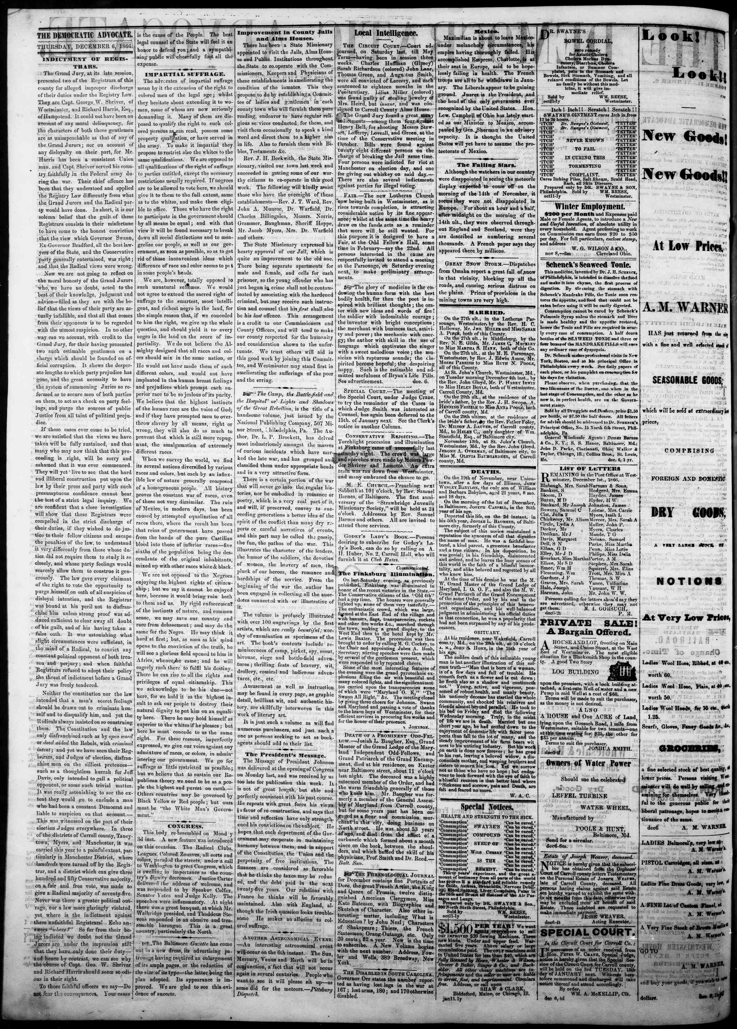 Newspaper of The Democratic Advocate dated December 6, 1866 Page 2
