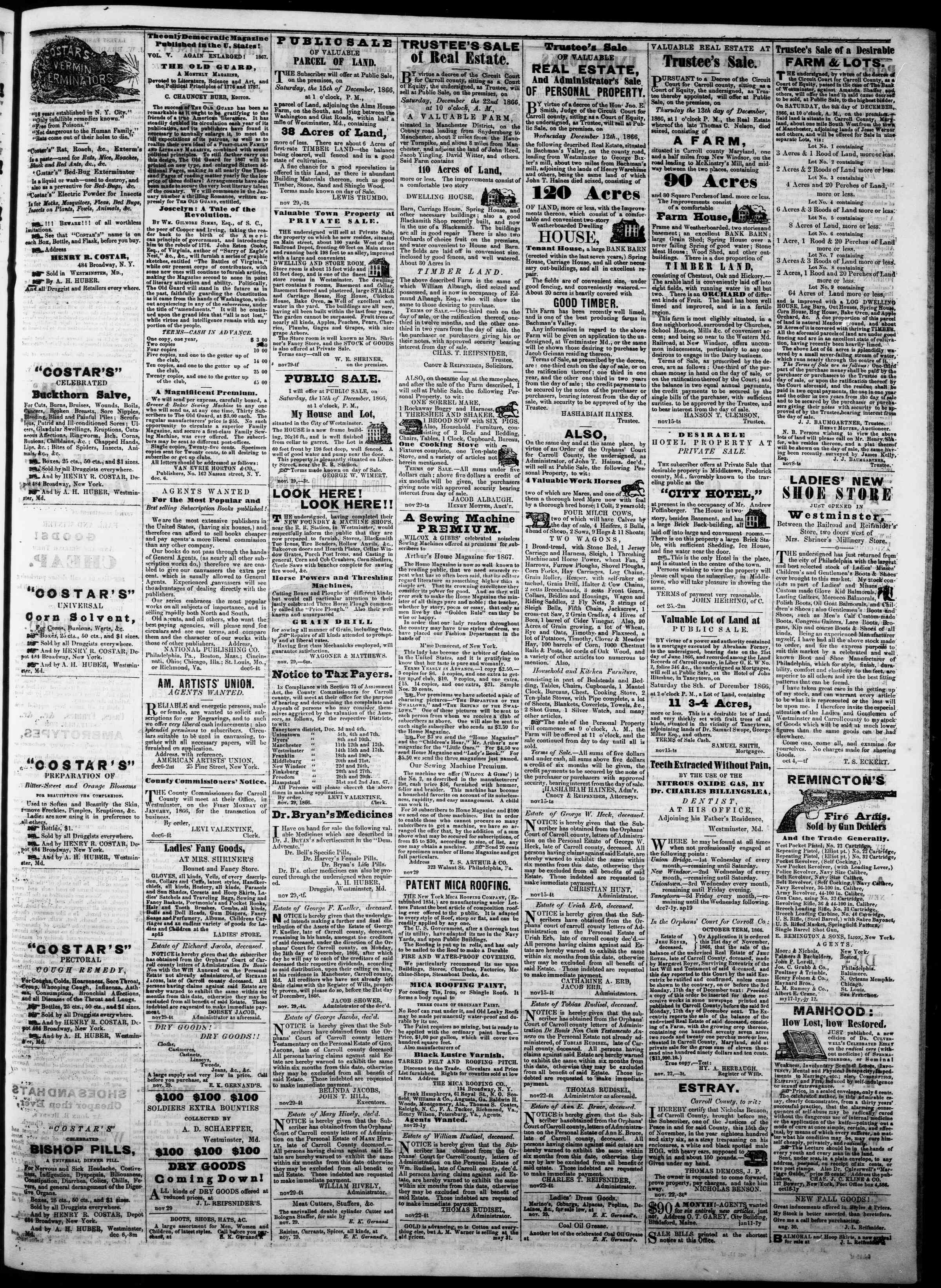 Newspaper of The Democratic Advocate dated December 6, 1866 Page 3