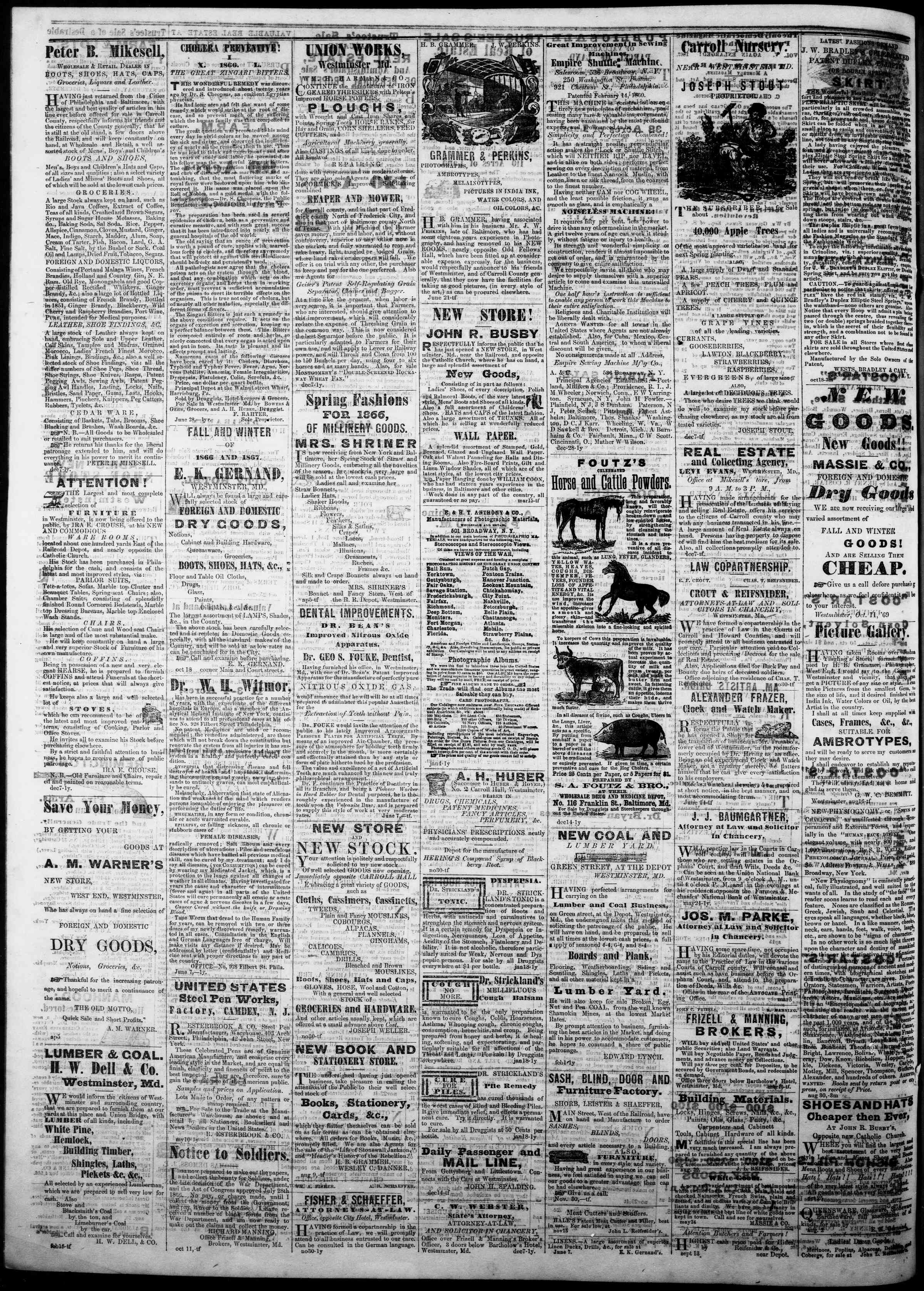 Newspaper of The Democratic Advocate dated December 6, 1866 Page 4