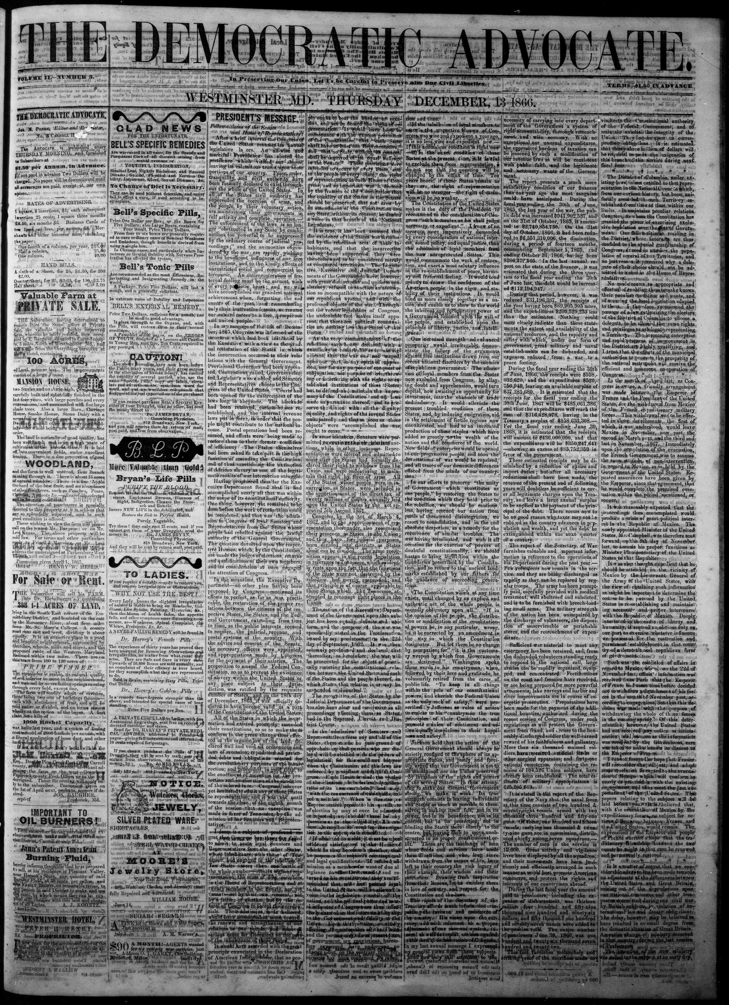 Newspaper of The Democratic Advocate dated December 13, 1866 Page 1
