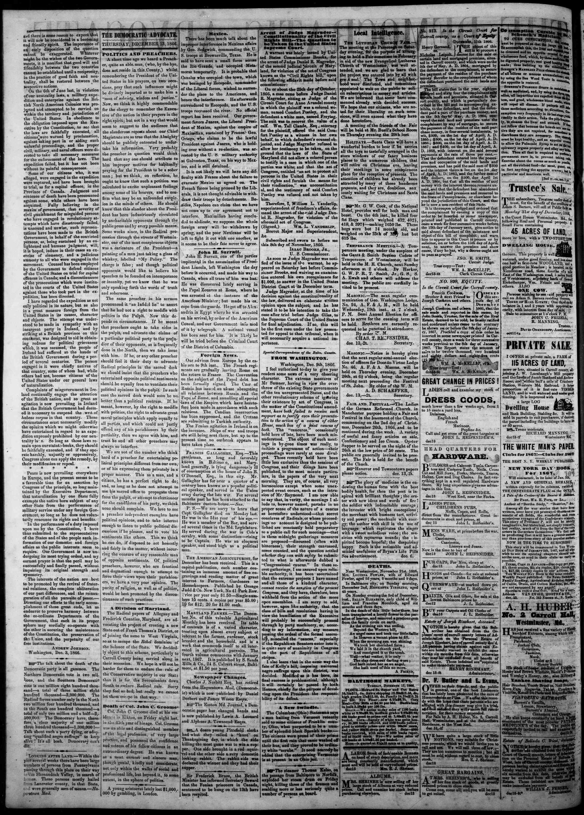 Newspaper of The Democratic Advocate dated 13 Aralık 1866 Page 2