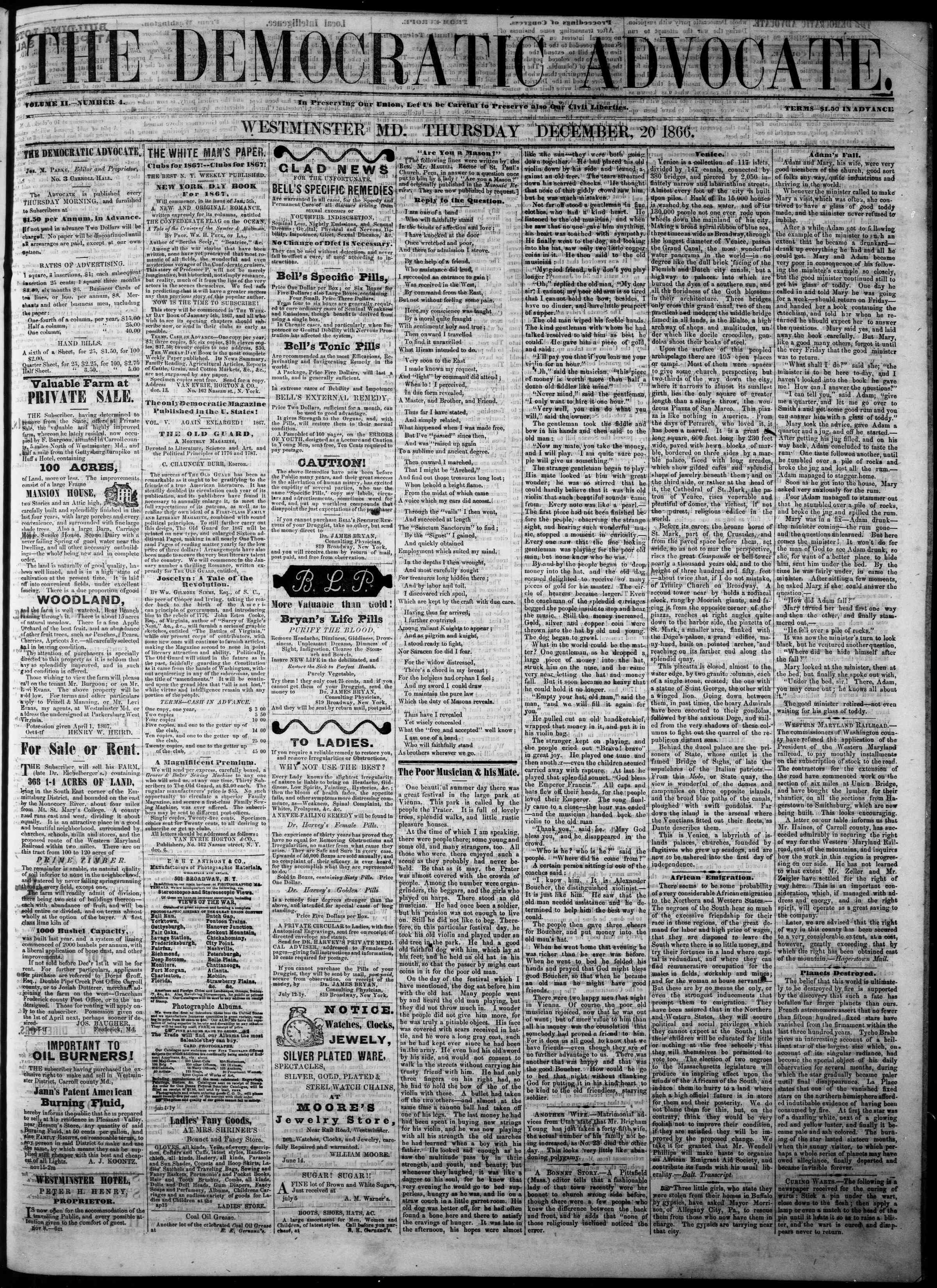 Newspaper of The Democratic Advocate dated 20 Aralık 1866 Page 1