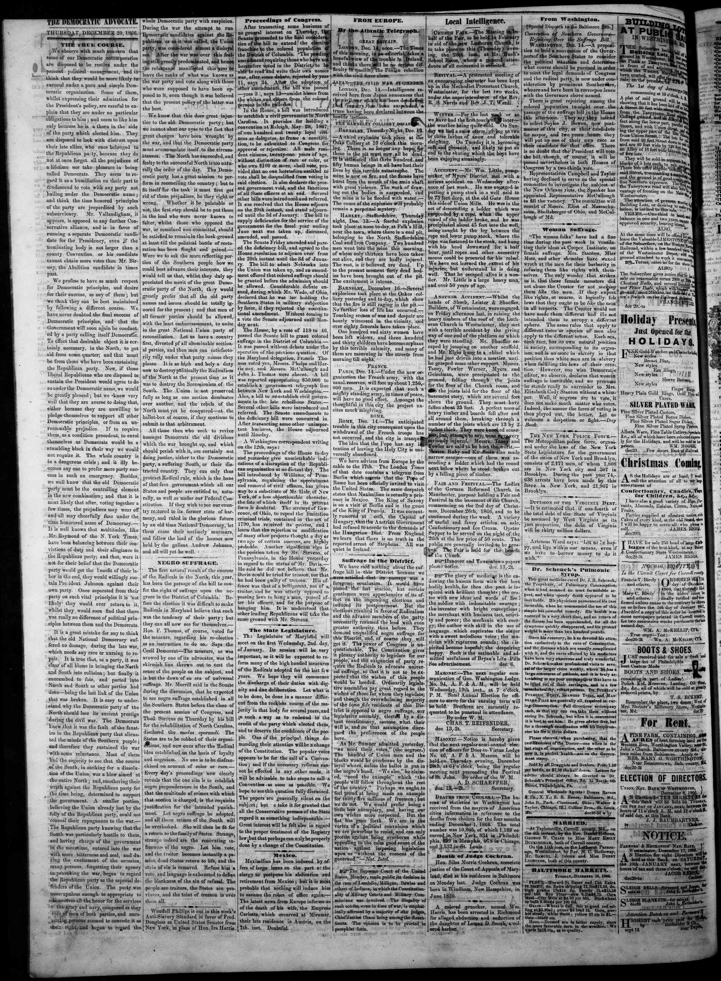 Newspaper of The Democratic Advocate dated December 20, 1866 Page 2
