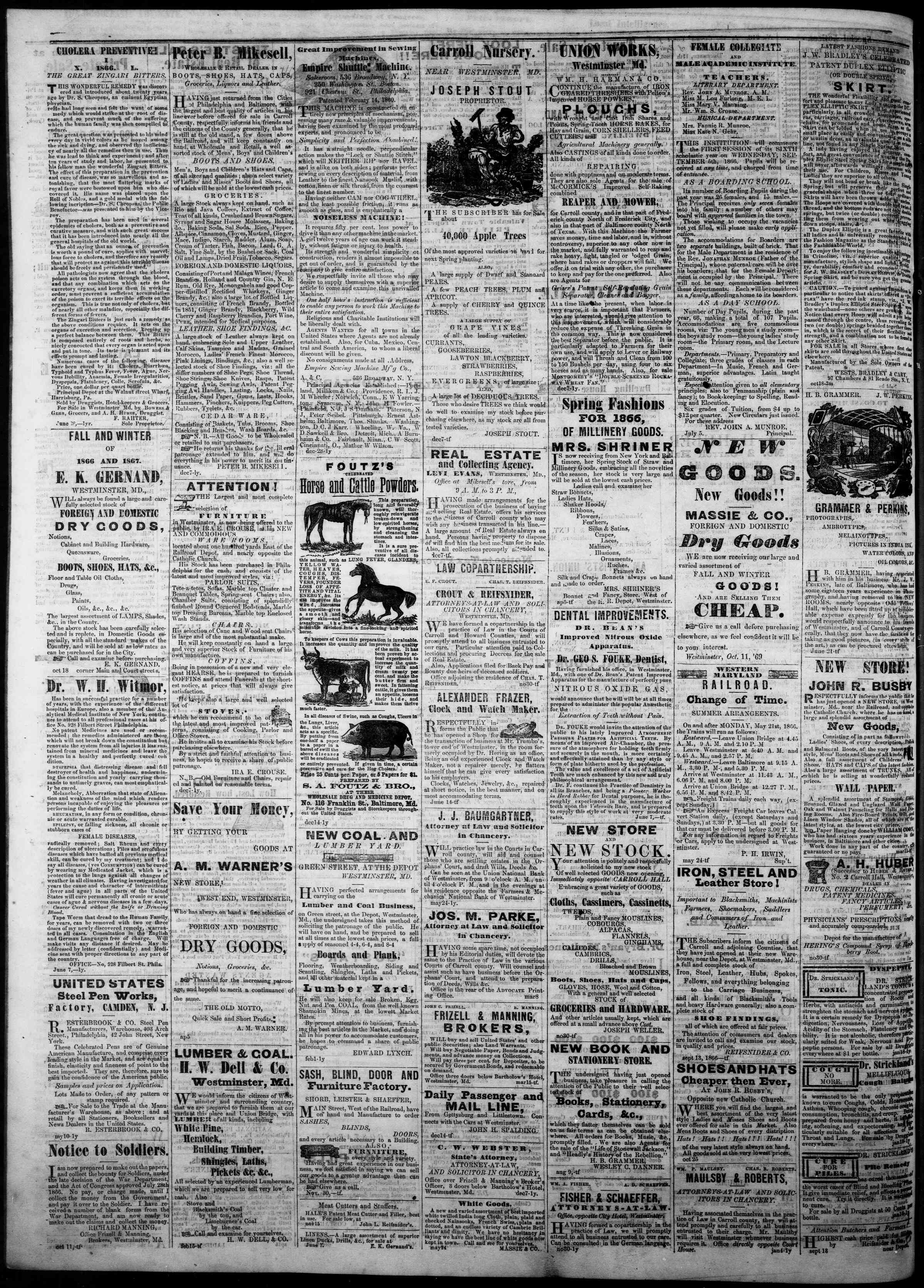 Newspaper of The Democratic Advocate dated December 20, 1866 Page 4