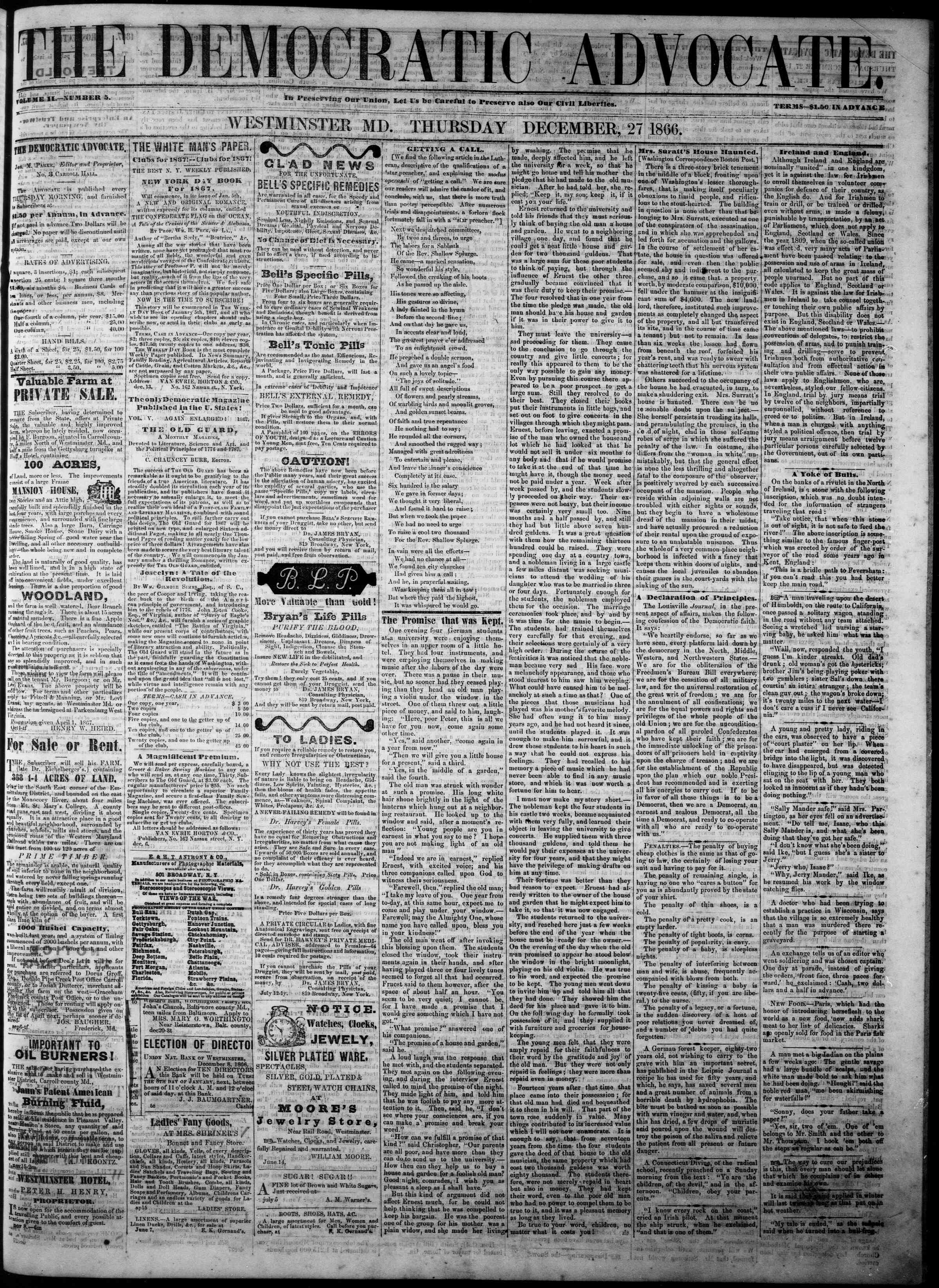 Newspaper of The Democratic Advocate dated December 27, 1866 Page 1