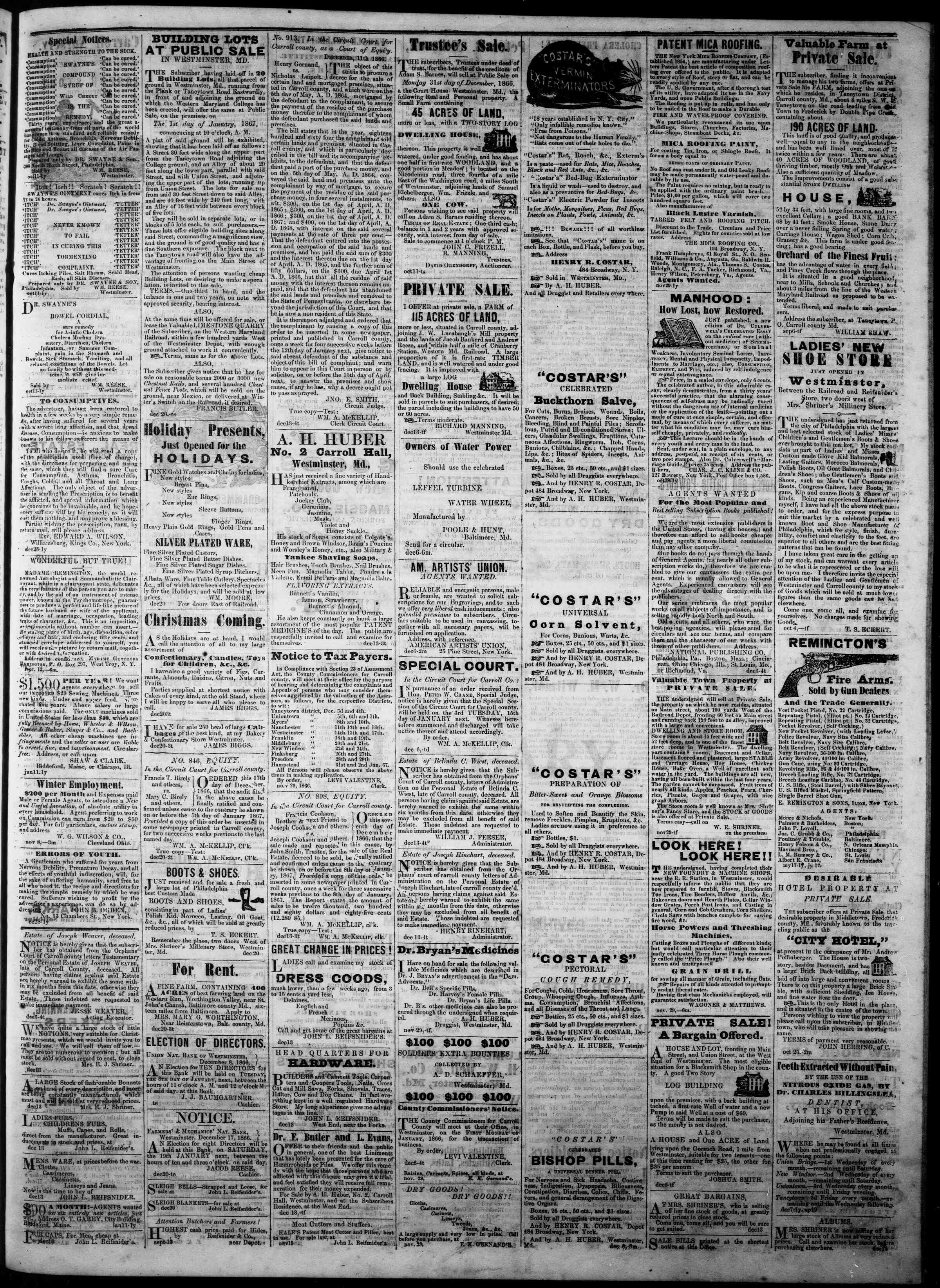 Newspaper of The Democratic Advocate dated December 27, 1866 Page 3