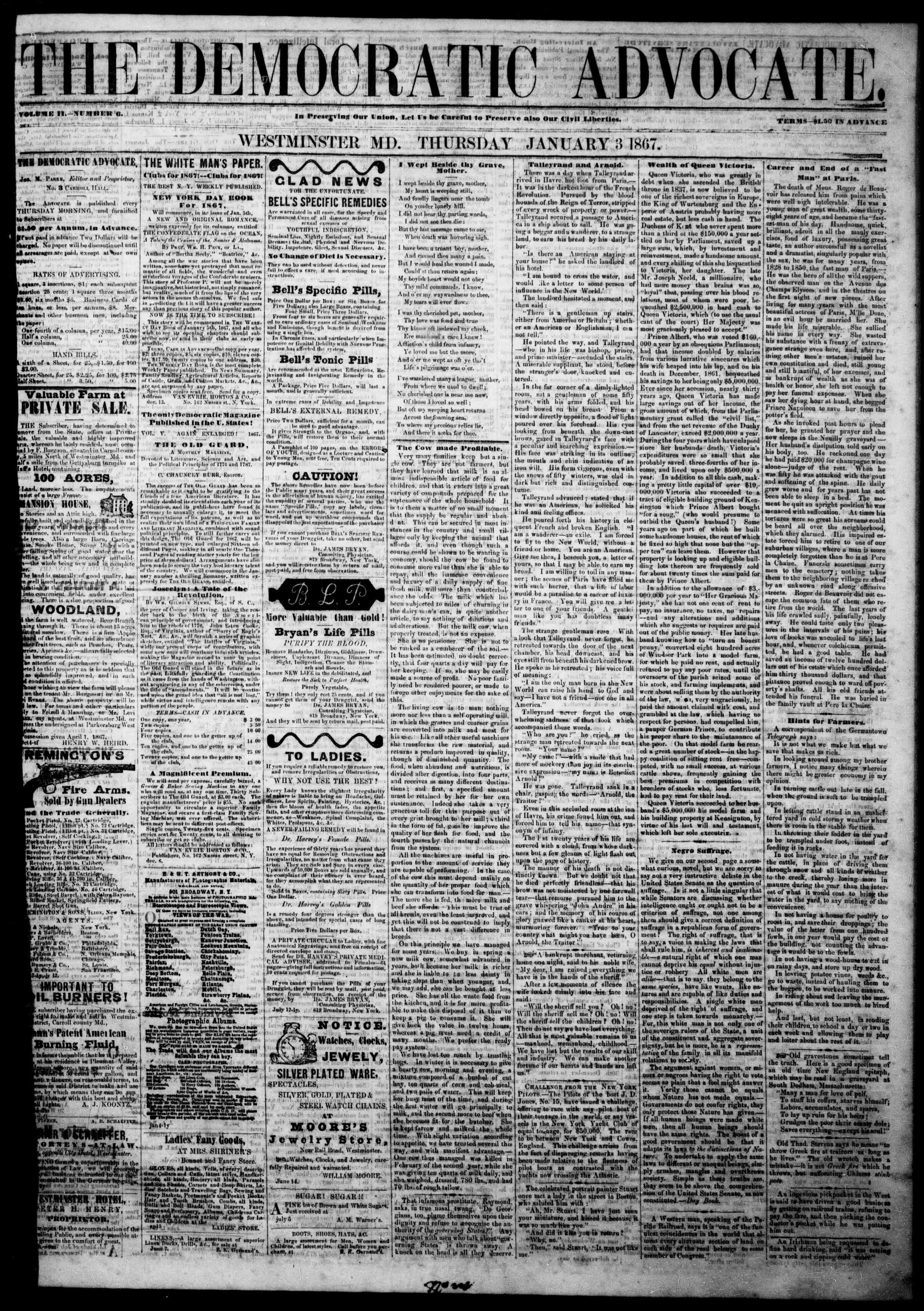 Newspaper of The Democratic Advocate dated January 3, 1867 Page 1