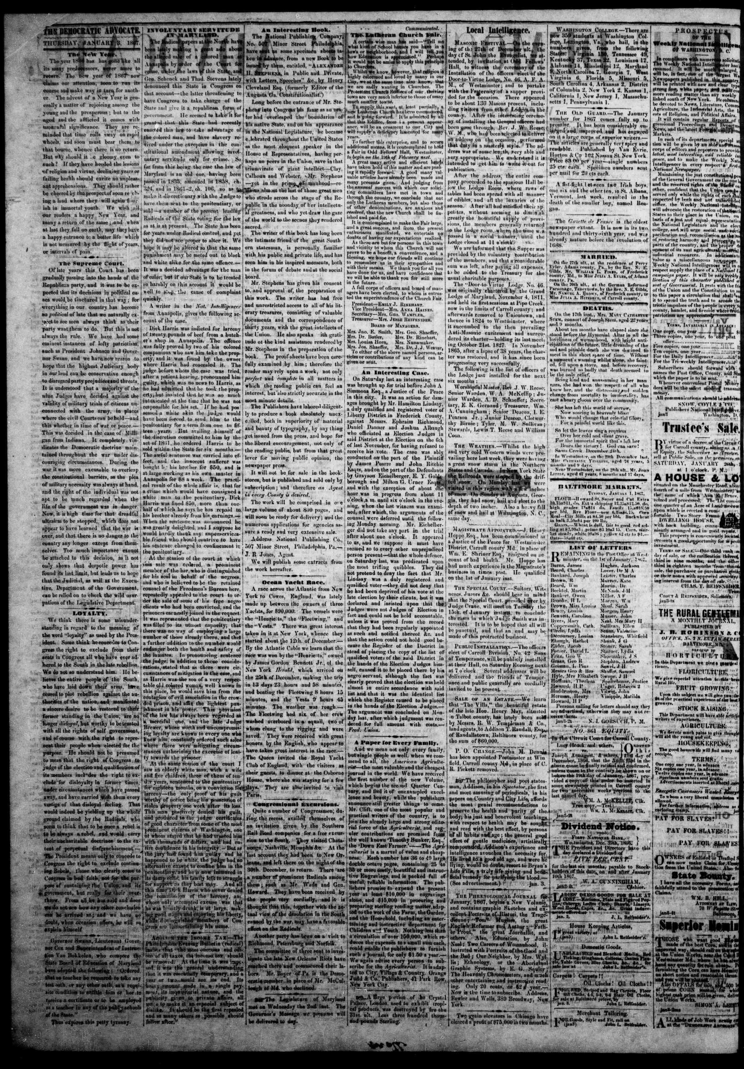 3 Ocak 1867 tarihli The Democratic Advocate Gazetesi Sayfa 2