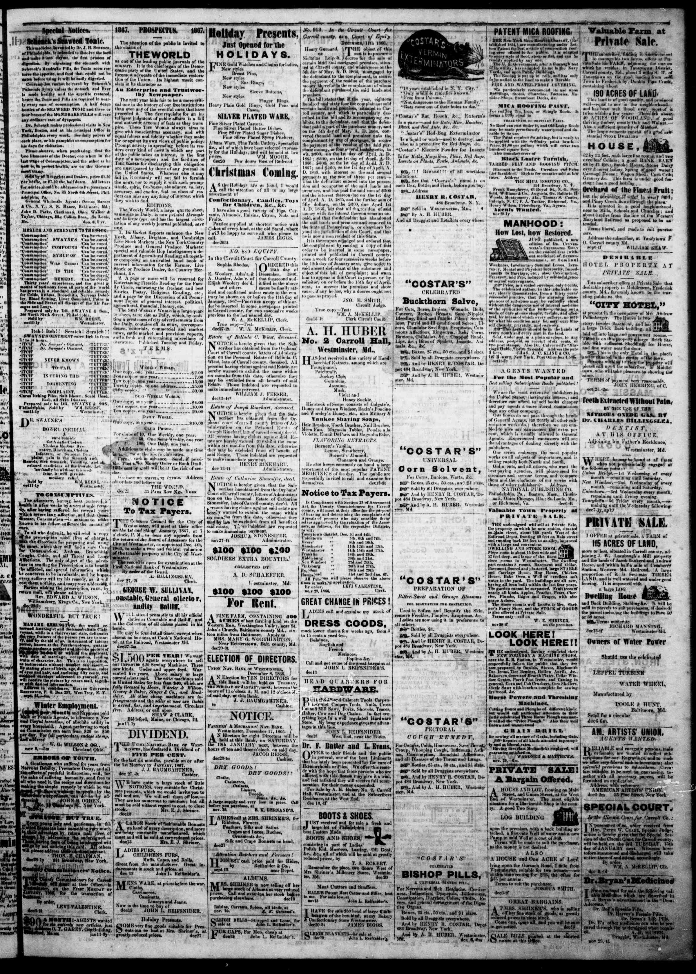 Newspaper of The Democratic Advocate dated January 3, 1867 Page 3