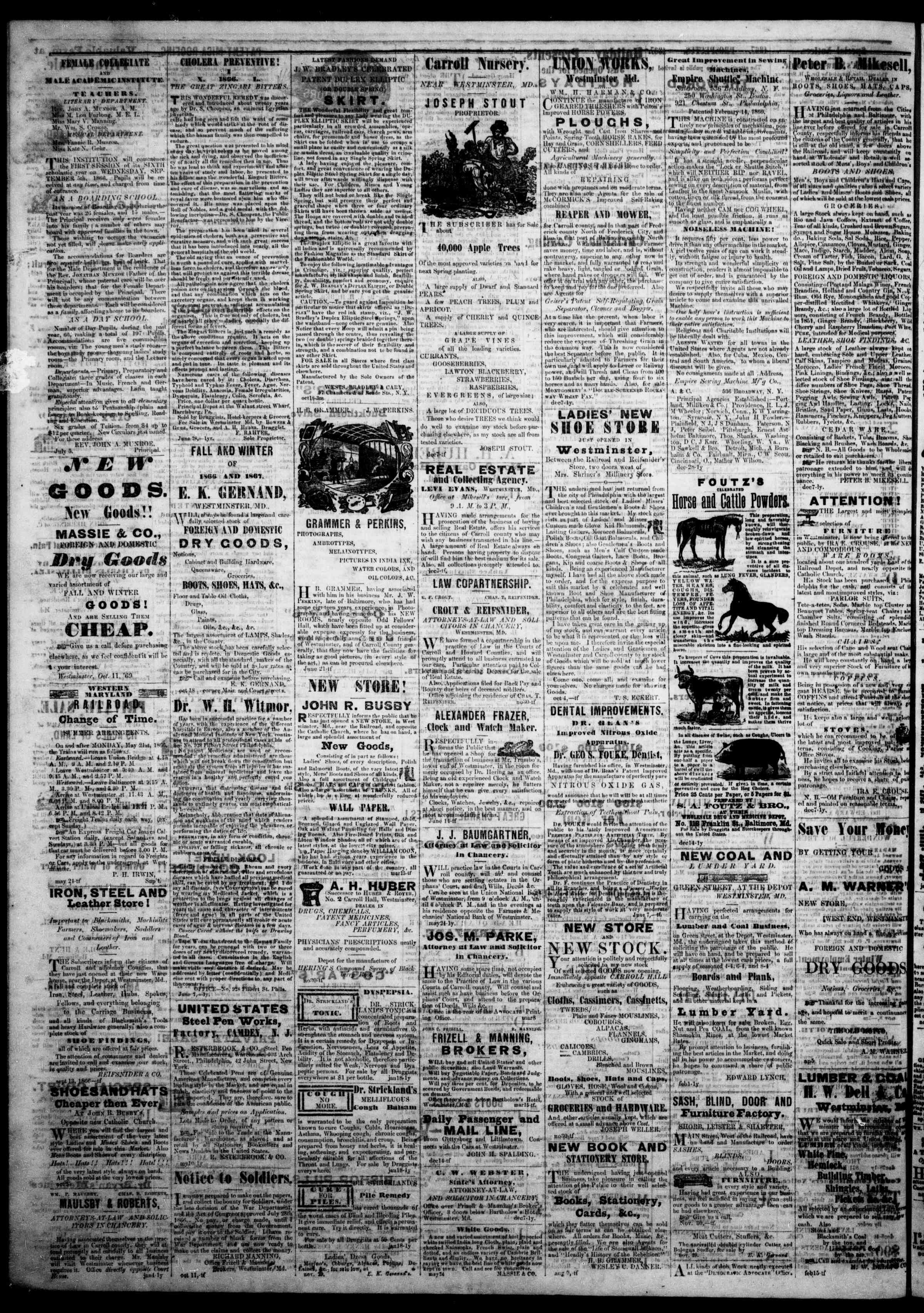 Newspaper of The Democratic Advocate dated January 3, 1867 Page 5
