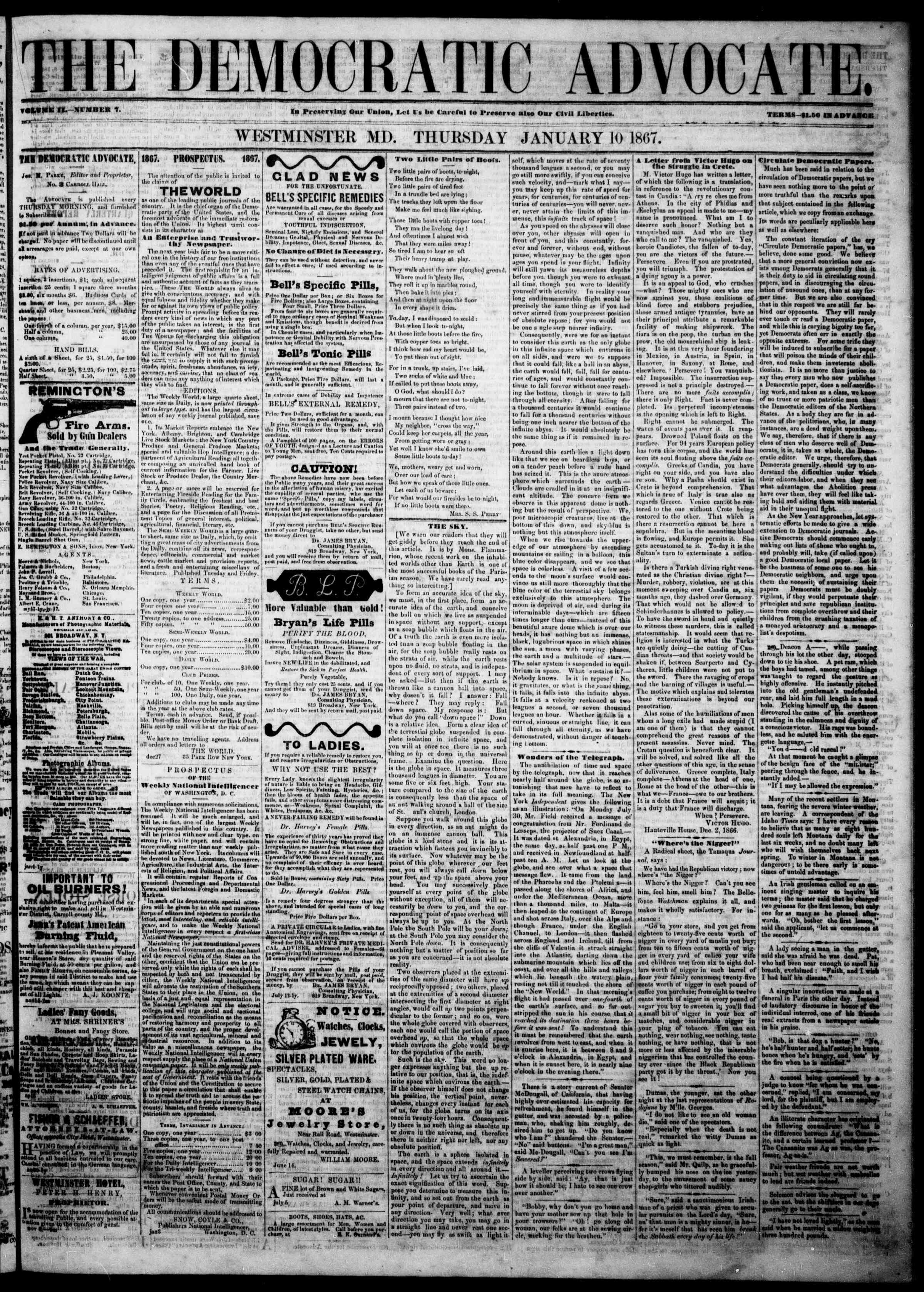 Newspaper of The Democratic Advocate dated January 10, 1867 Page 1