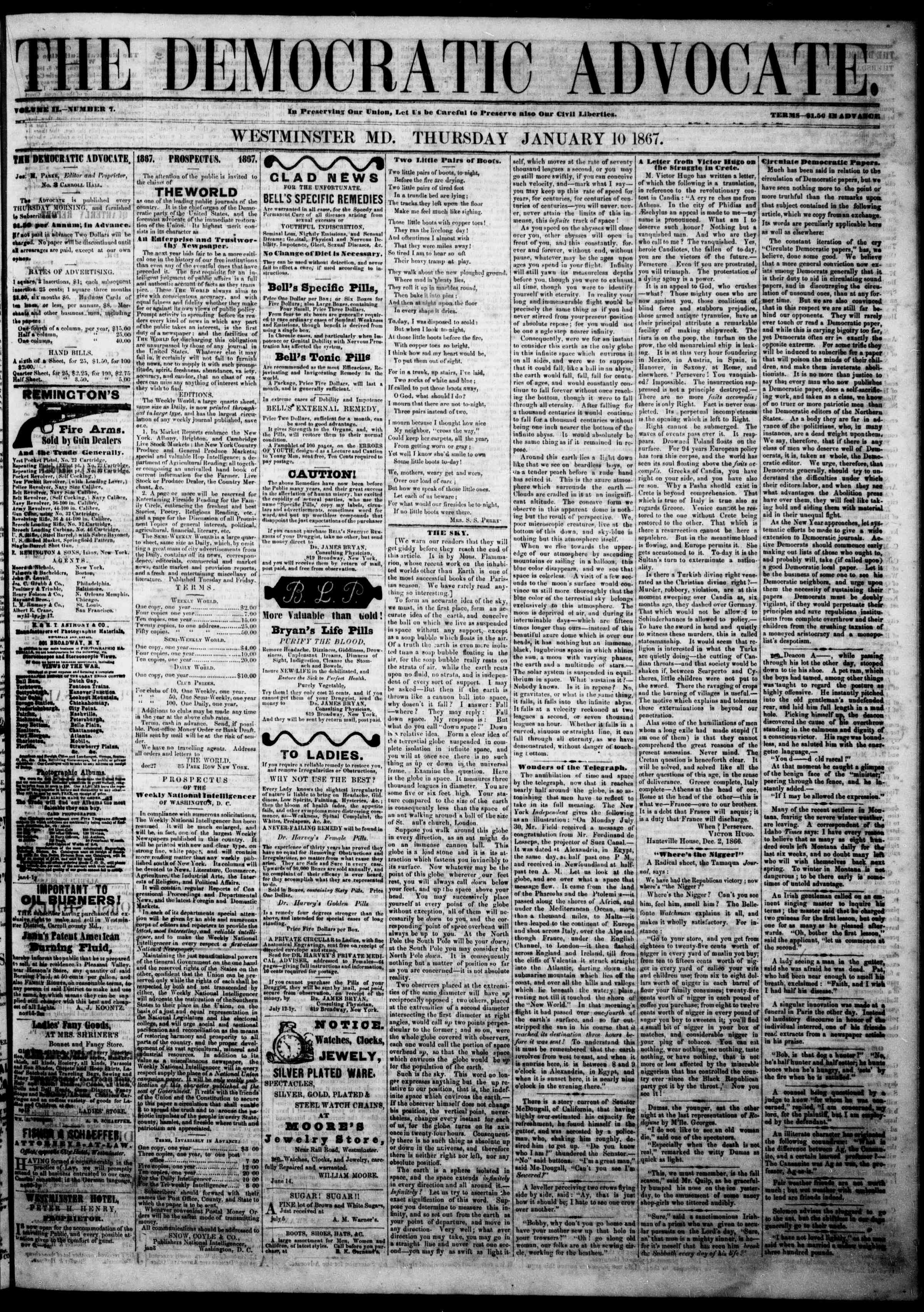 Newspaper of The Democratic Advocate dated 10 Ocak 1867 Page 2