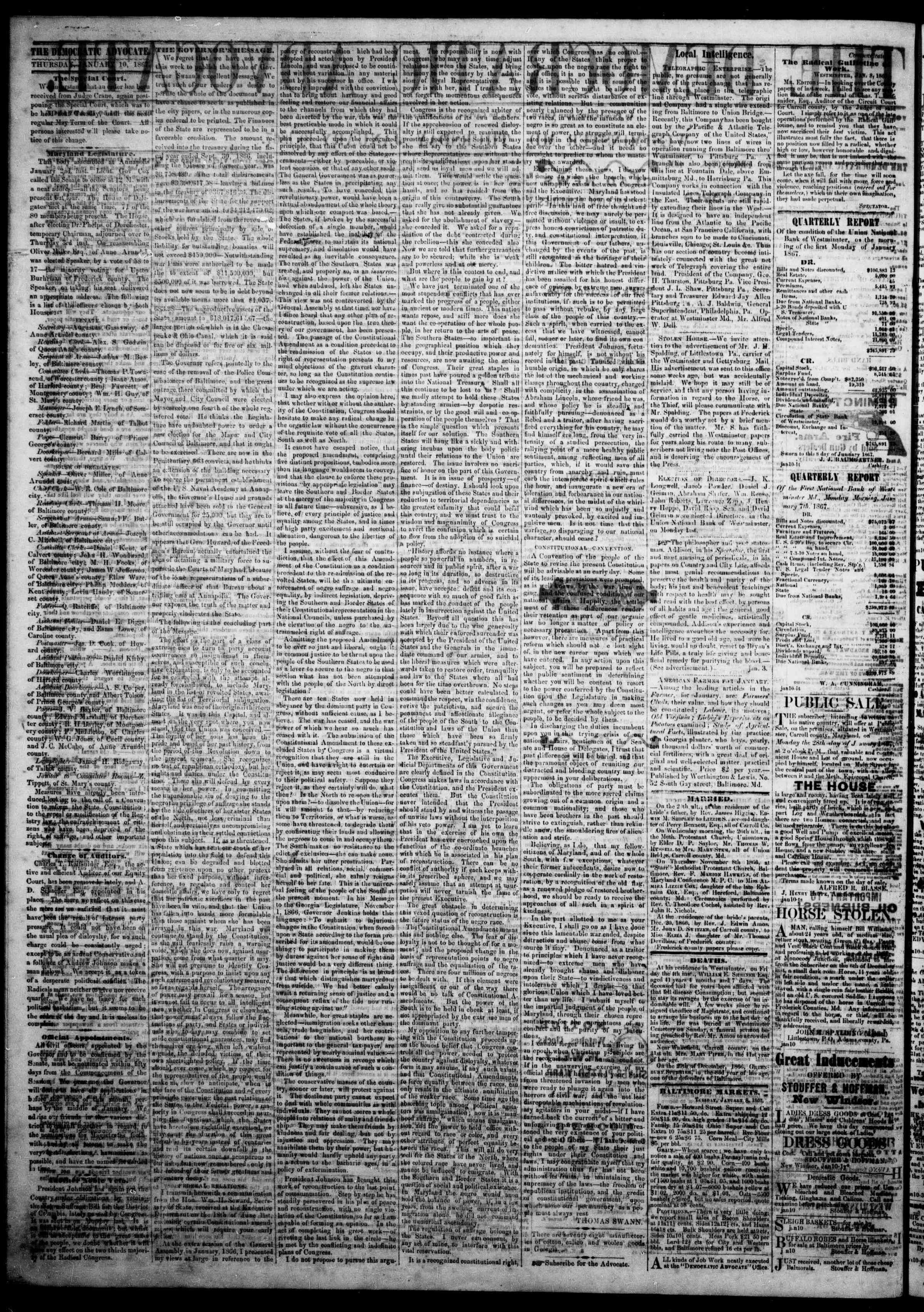 Newspaper of The Democratic Advocate dated January 10, 1867 Page 3