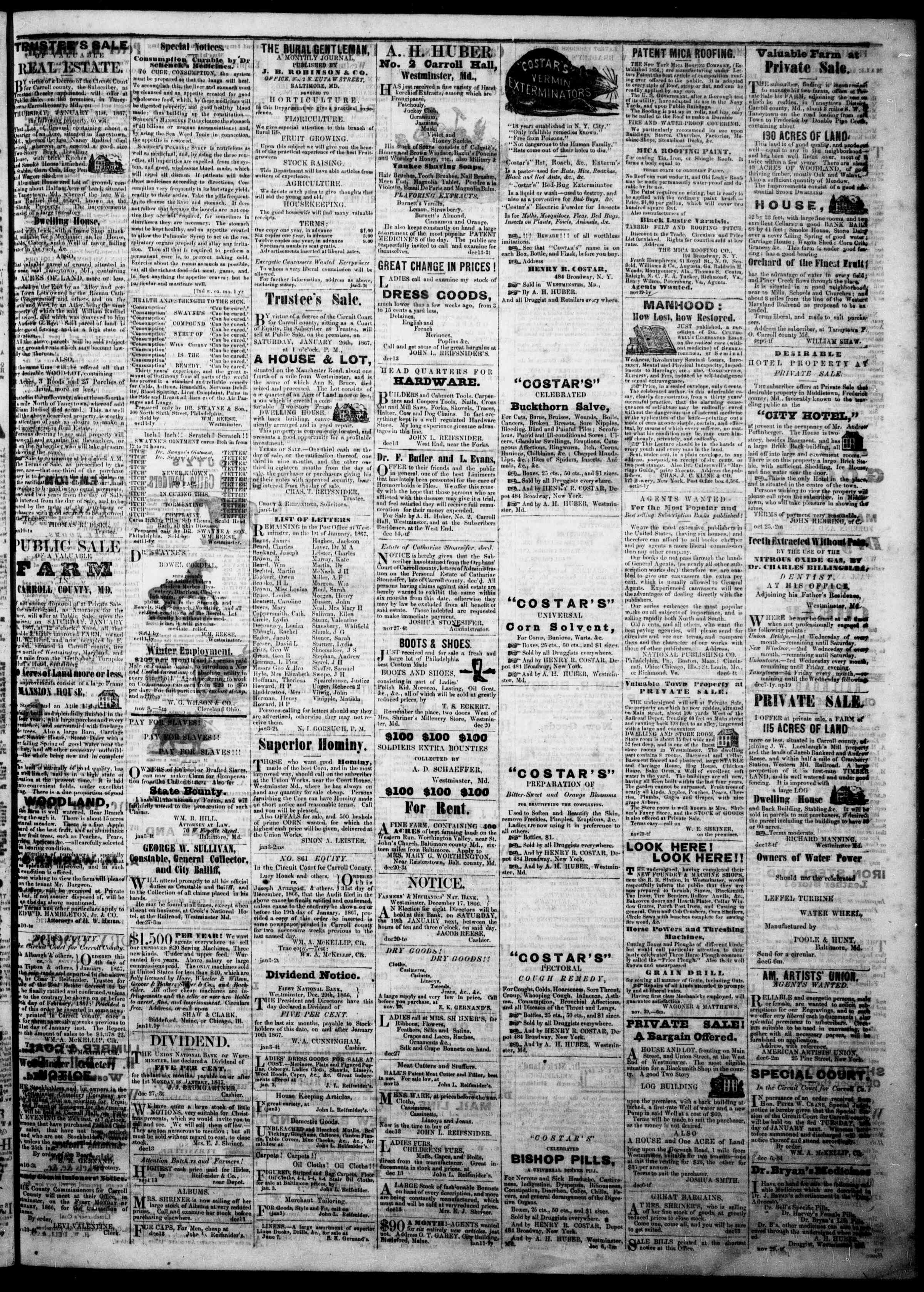 Newspaper of The Democratic Advocate dated January 10, 1867 Page 4