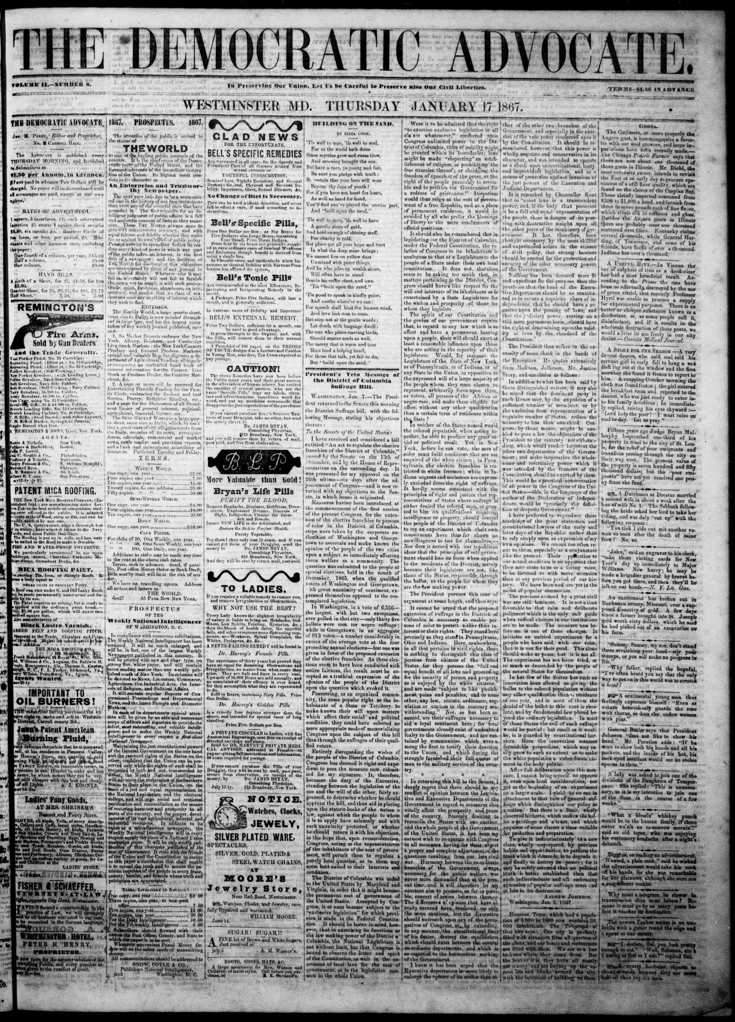 Newspaper of The Democratic Advocate dated January 17, 1867 Page 1
