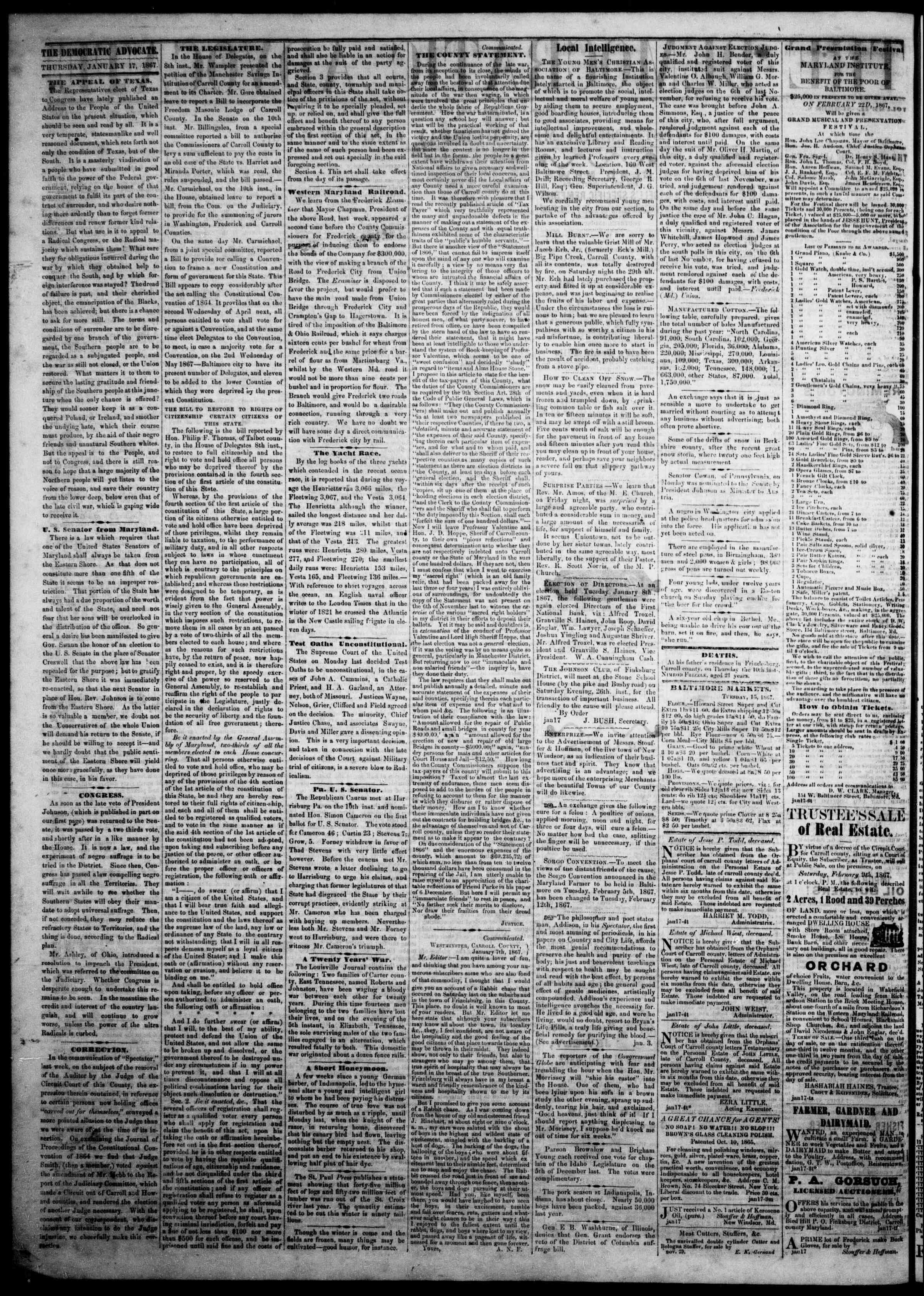 Newspaper of The Democratic Advocate dated January 17, 1867 Page 2