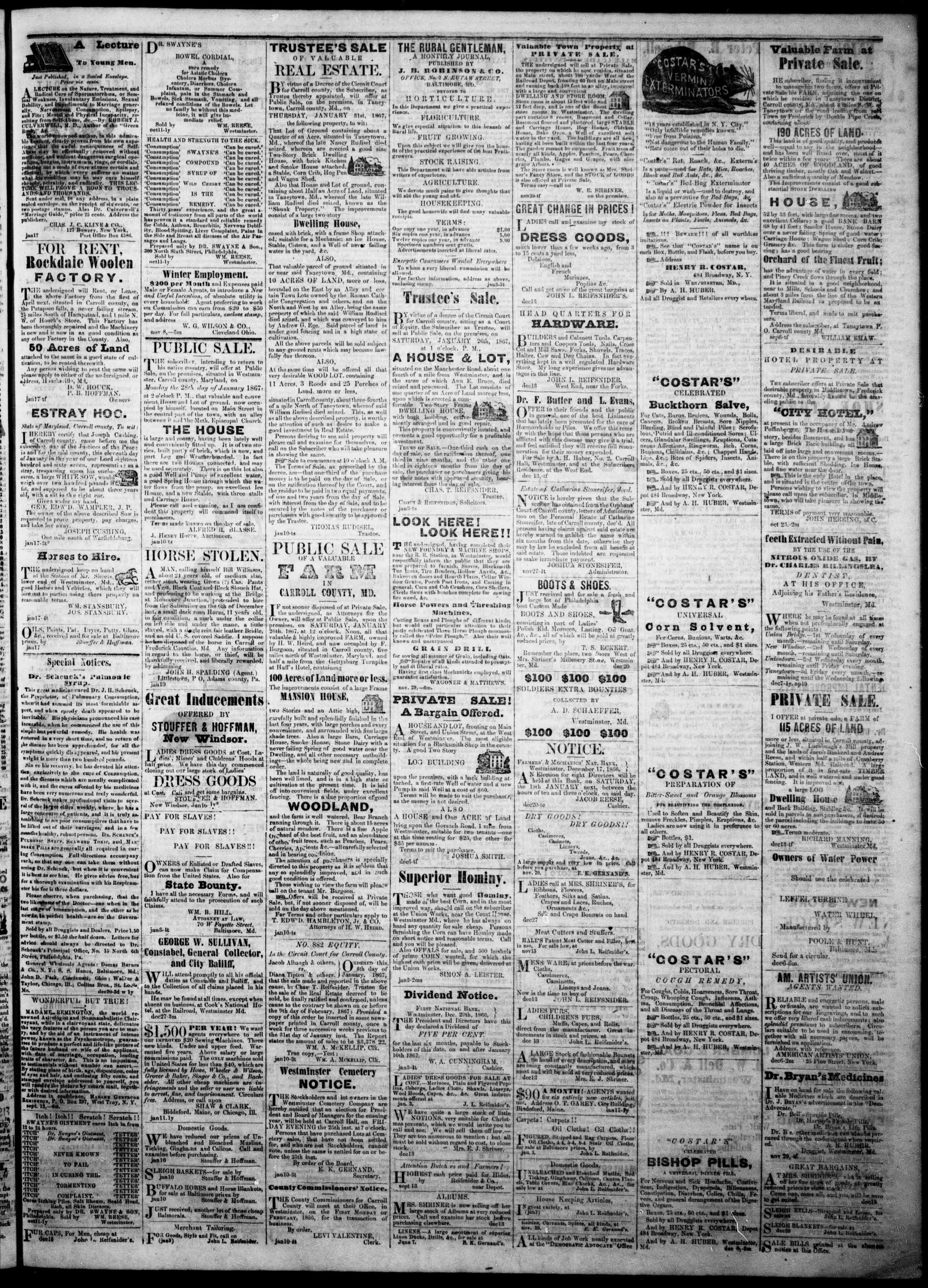 Newspaper of The Democratic Advocate dated January 17, 1867 Page 3