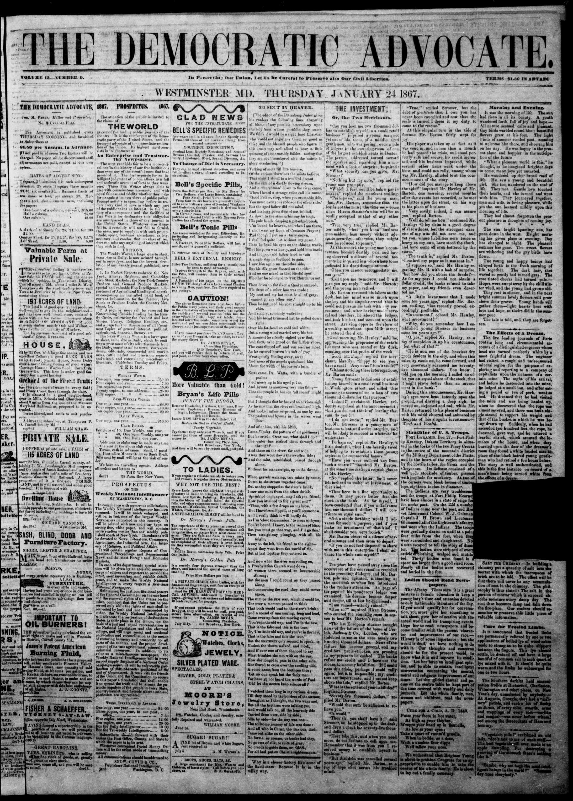 Newspaper of The Democratic Advocate dated January 24, 1867 Page 1