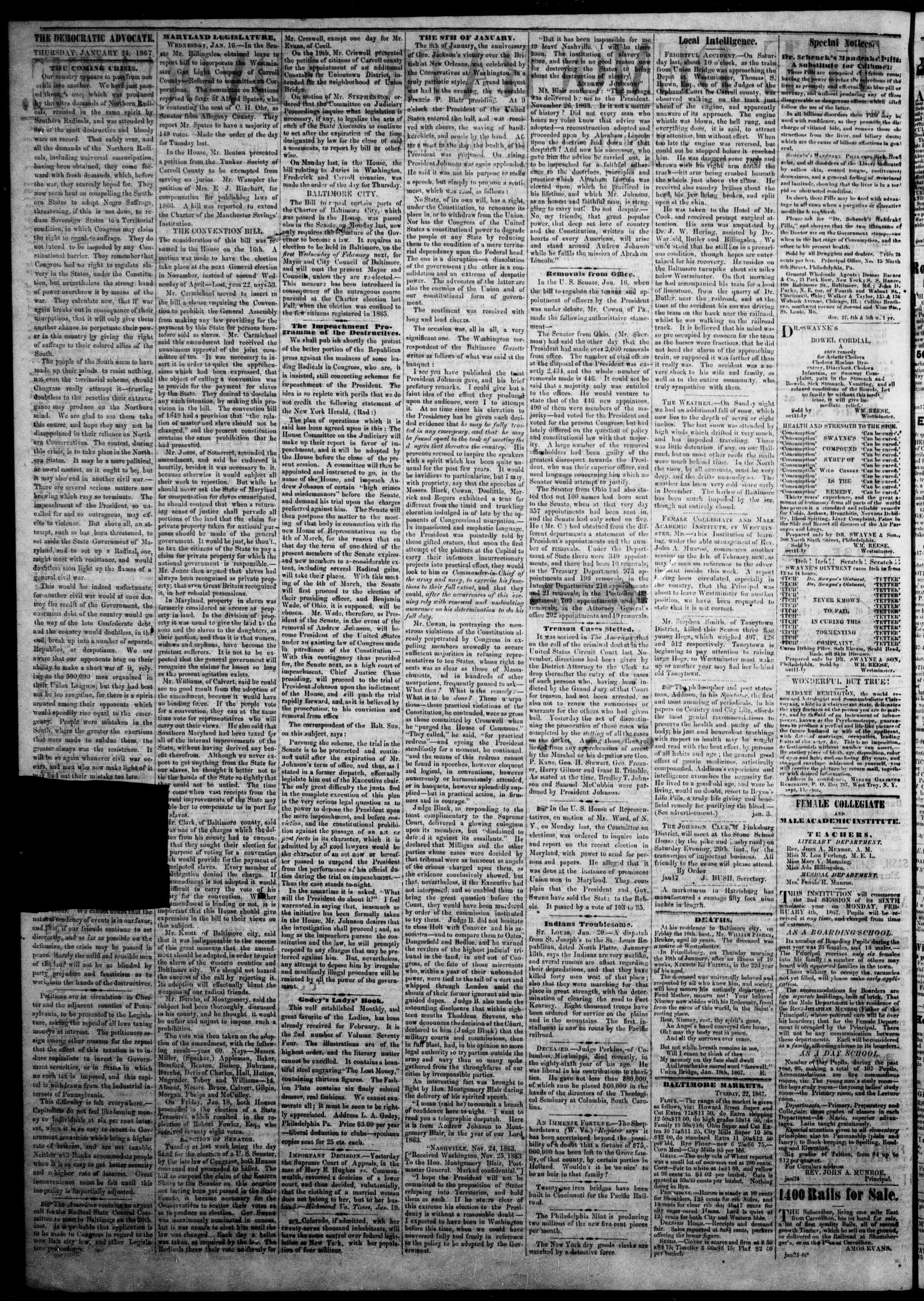 Newspaper of The Democratic Advocate dated January 24, 1867 Page 2