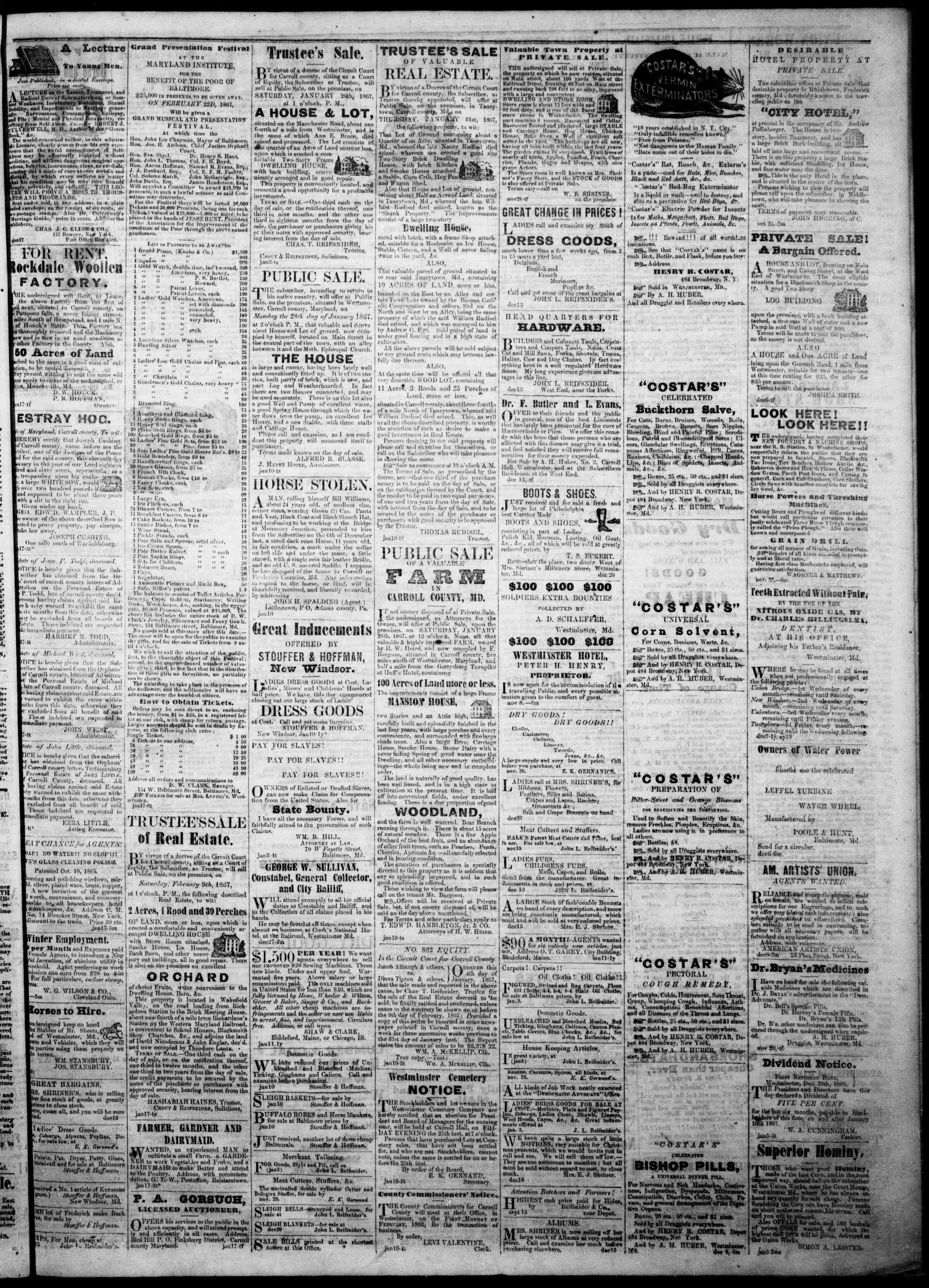 Newspaper of The Democratic Advocate dated January 24, 1867 Page 3