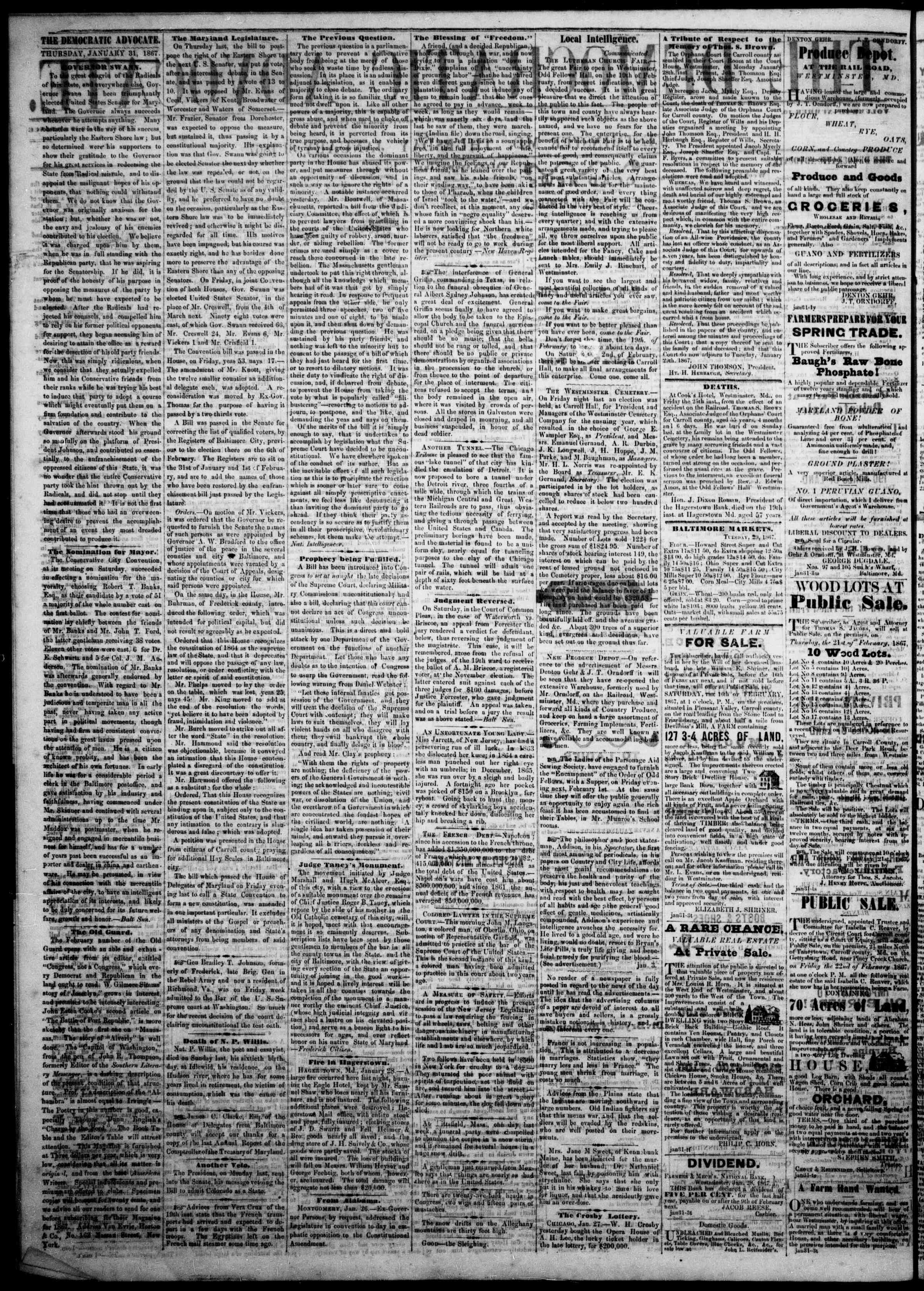 Newspaper of The Democratic Advocate dated January 31, 1867 Page 2