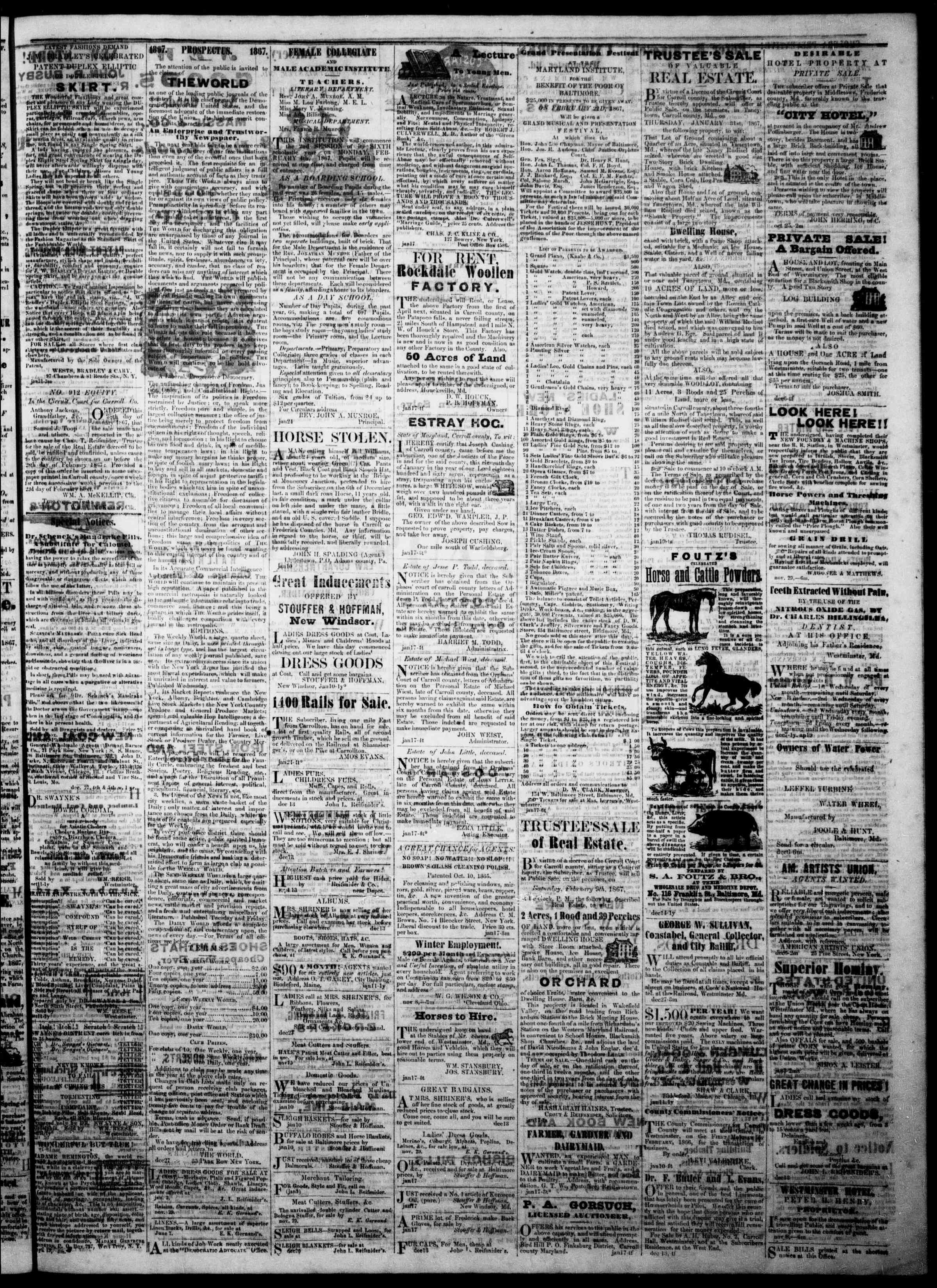 Newspaper of The Democratic Advocate dated January 31, 1867 Page 3