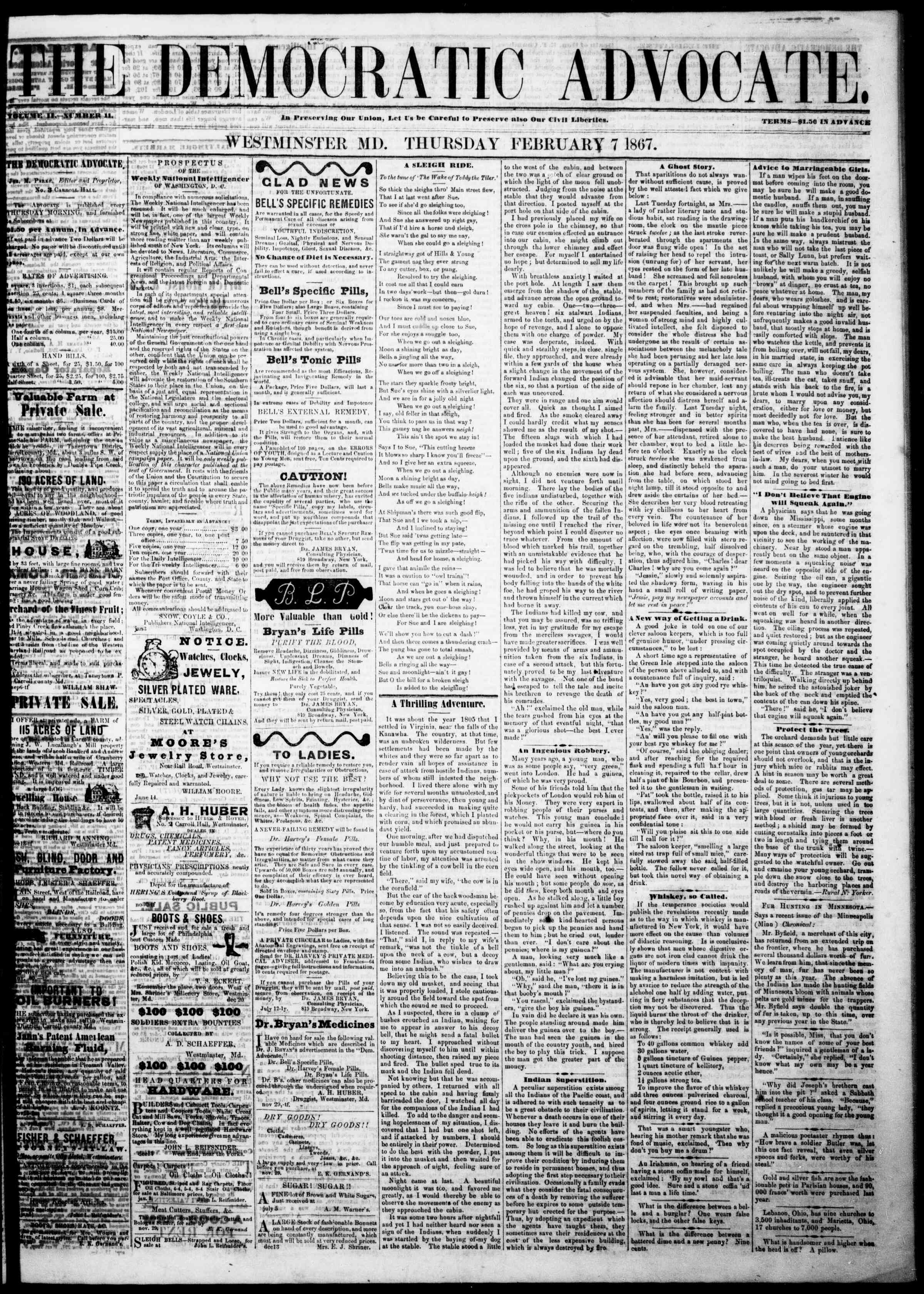 Newspaper of The Democratic Advocate dated February 7, 1867 Page 1