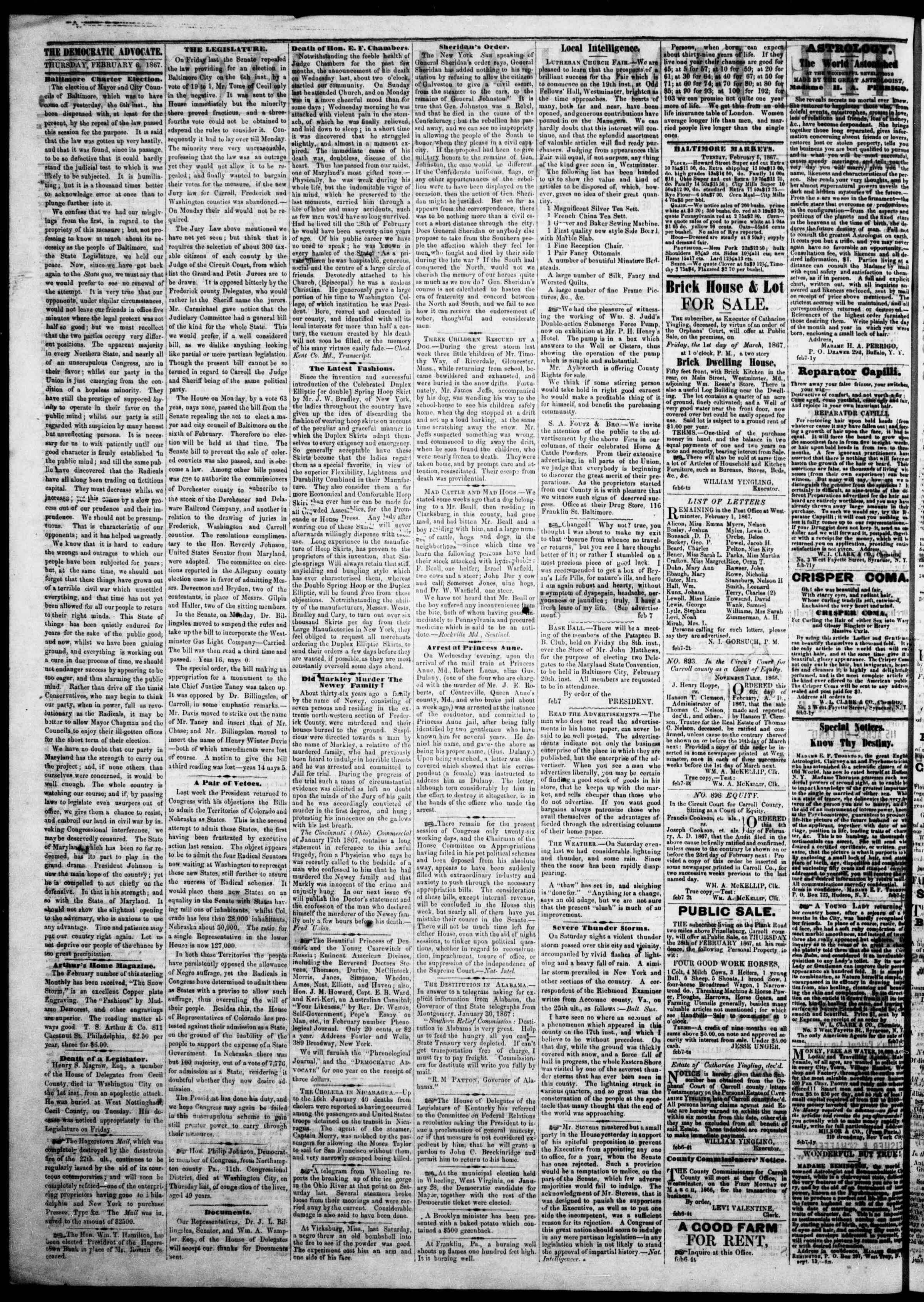 Newspaper of The Democratic Advocate dated February 7, 1867 Page 2
