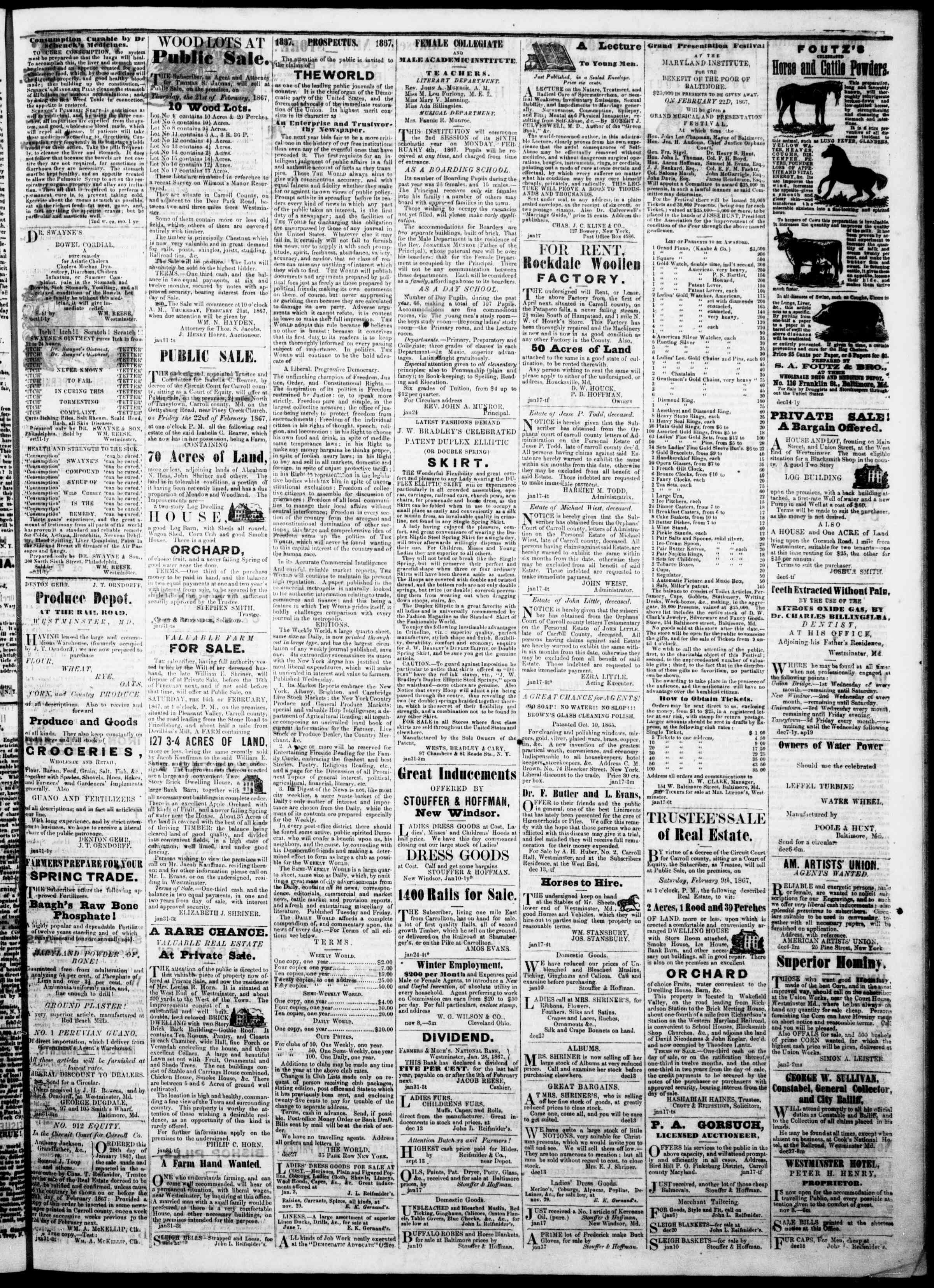 Newspaper of The Democratic Advocate dated February 7, 1867 Page 3