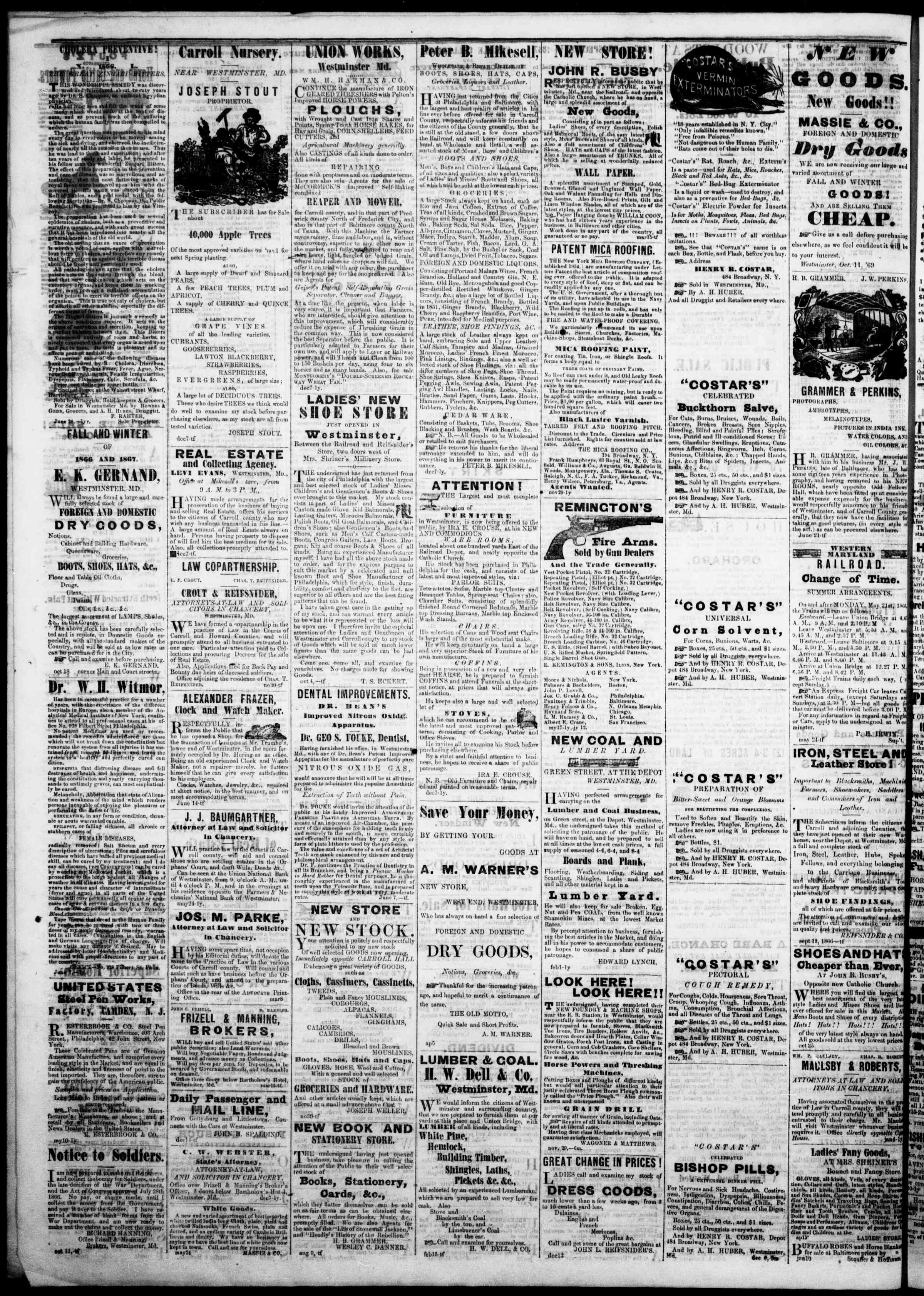 Newspaper of The Democratic Advocate dated February 7, 1867 Page 4
