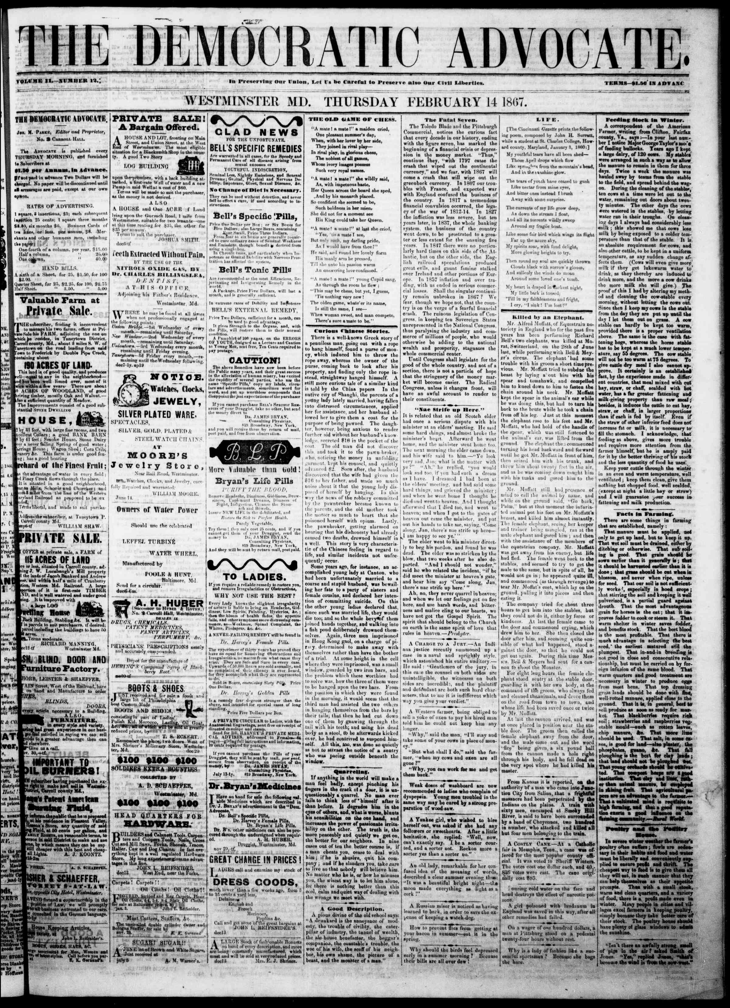Newspaper of The Democratic Advocate dated February 14, 1867 Page 1