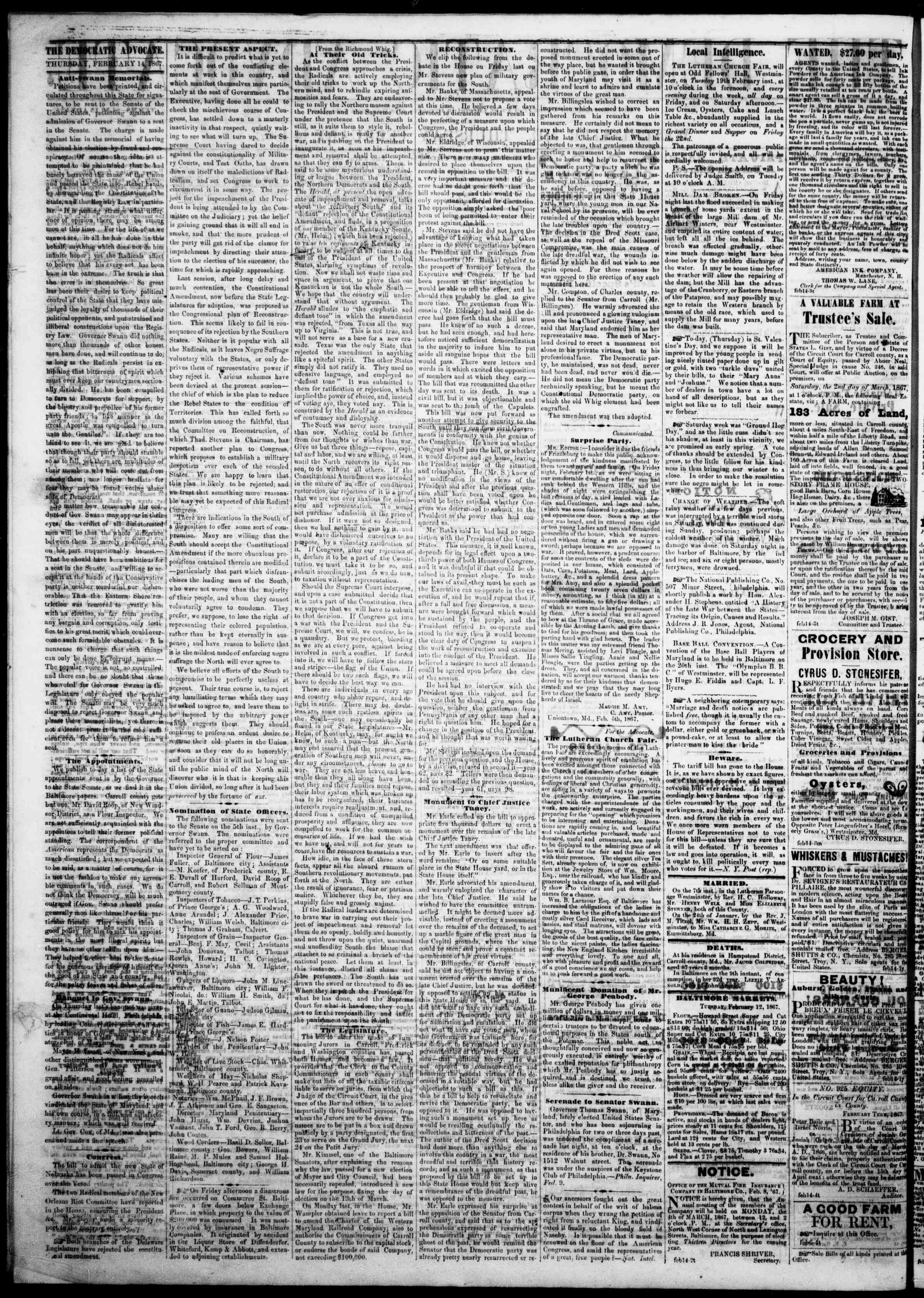 Newspaper of The Democratic Advocate dated February 14, 1867 Page 2