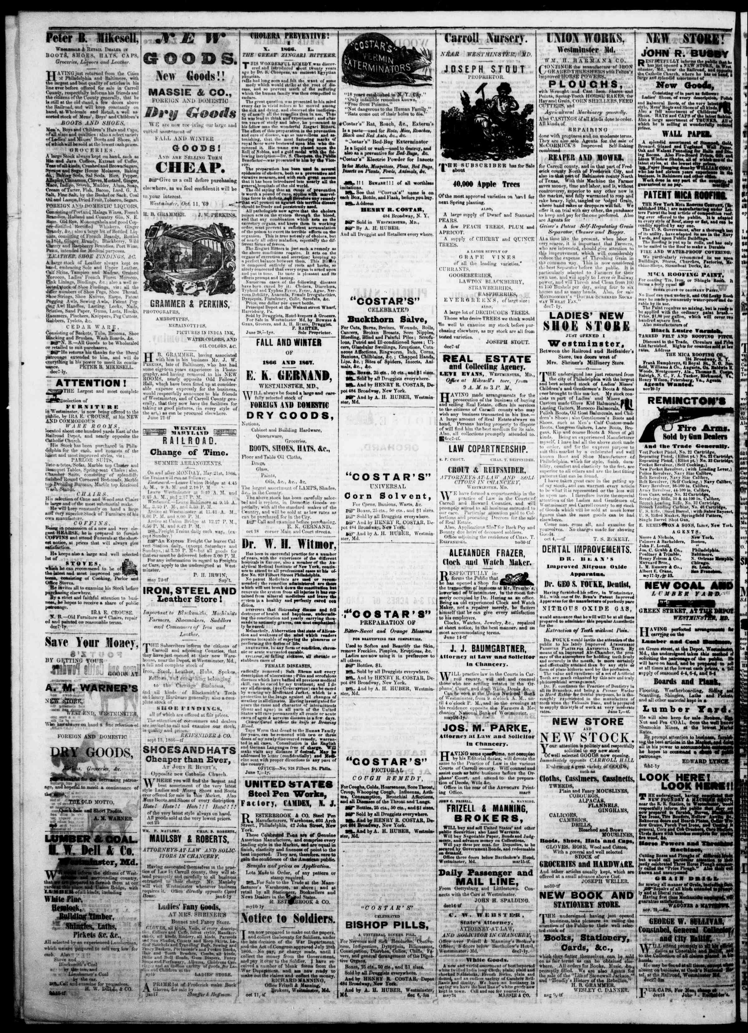 Newspaper of The Democratic Advocate dated February 14, 1867 Page 4