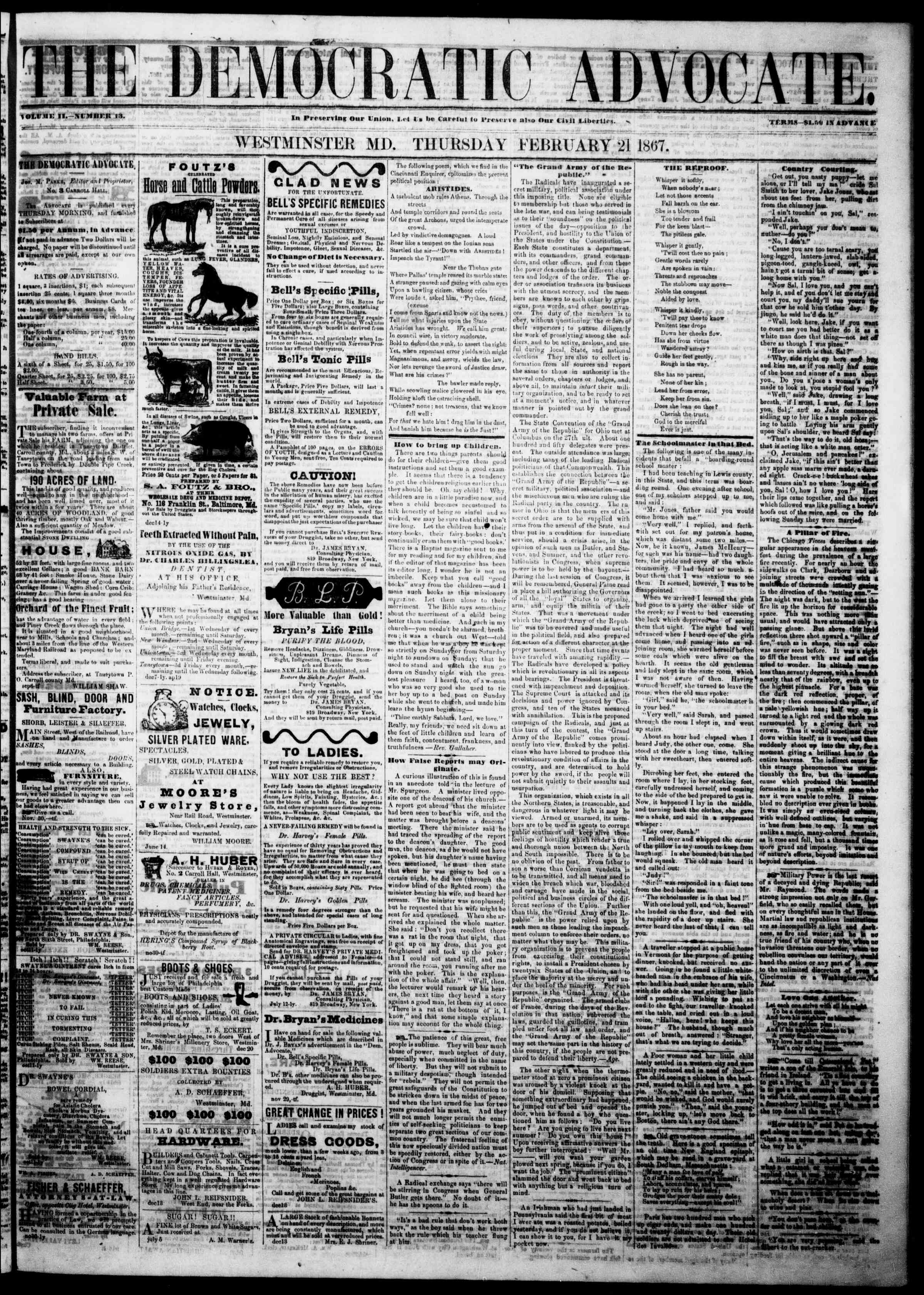 Newspaper of The Democratic Advocate dated February 21, 1867 Page 1