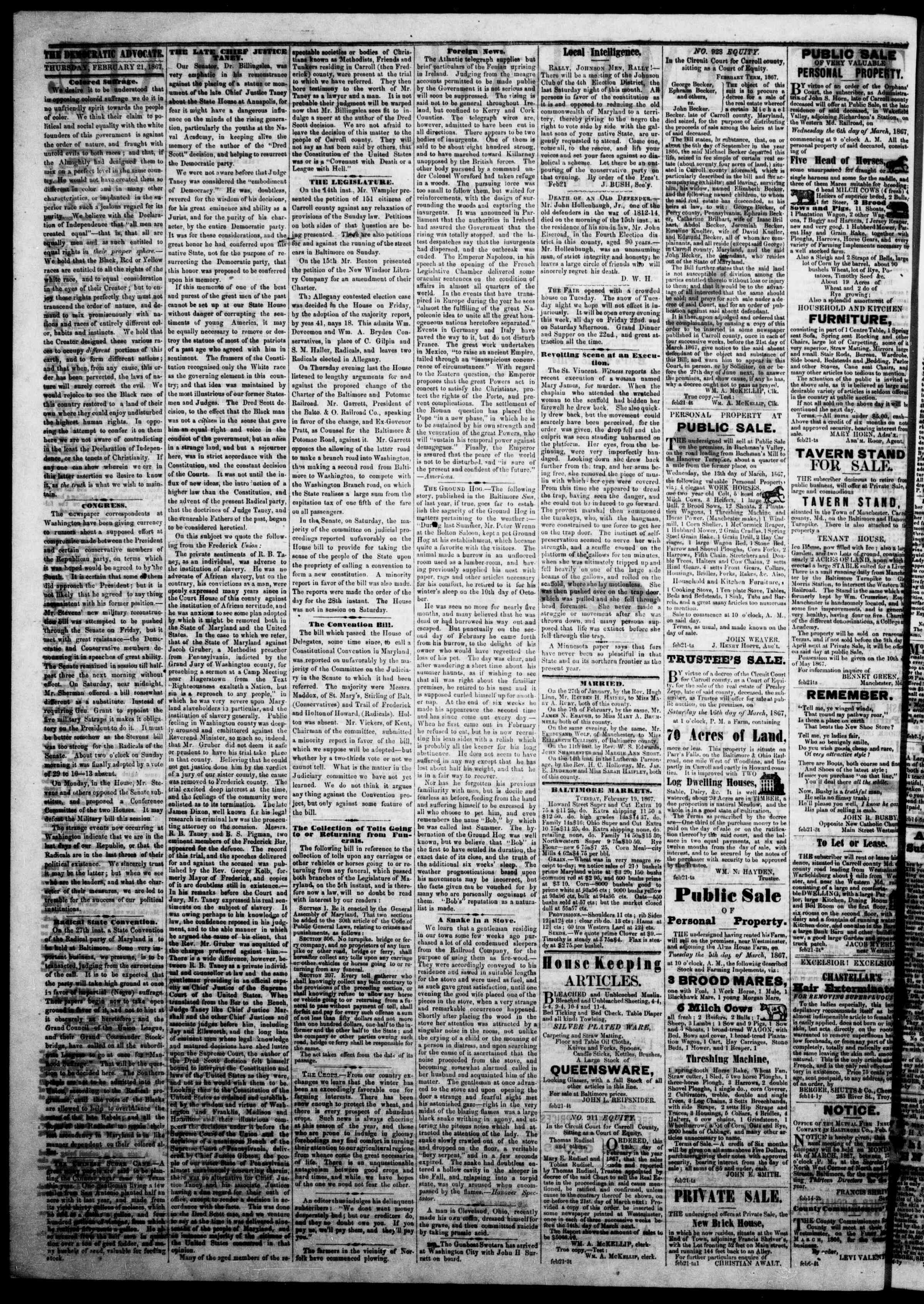 Newspaper of The Democratic Advocate dated February 21, 1867 Page 2