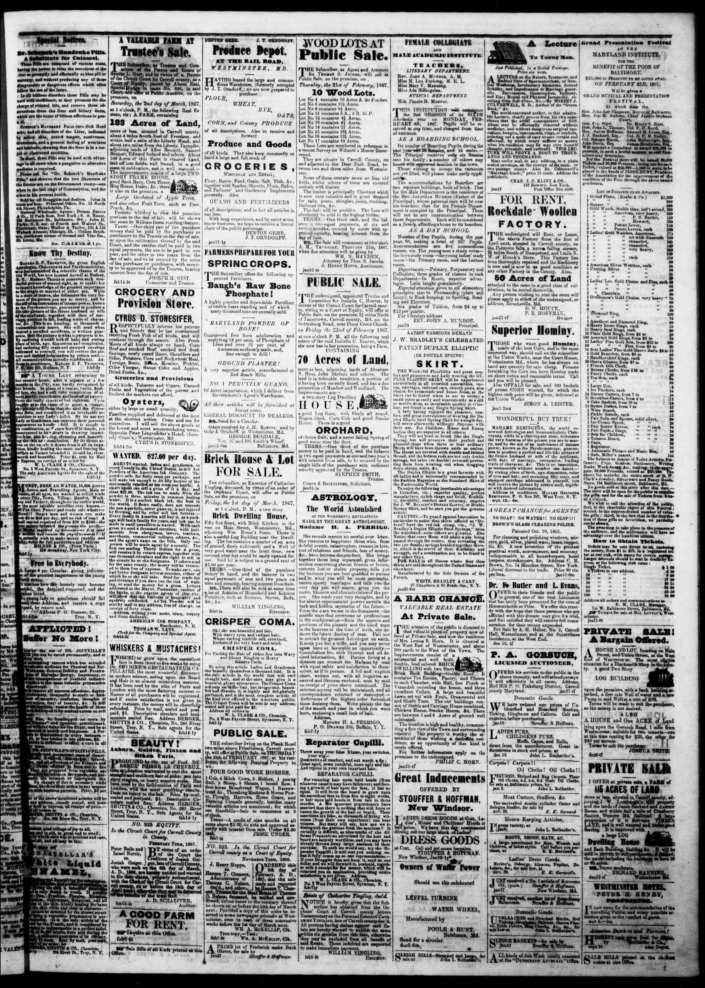 Newspaper of The Democratic Advocate dated February 21, 1867 Page 3