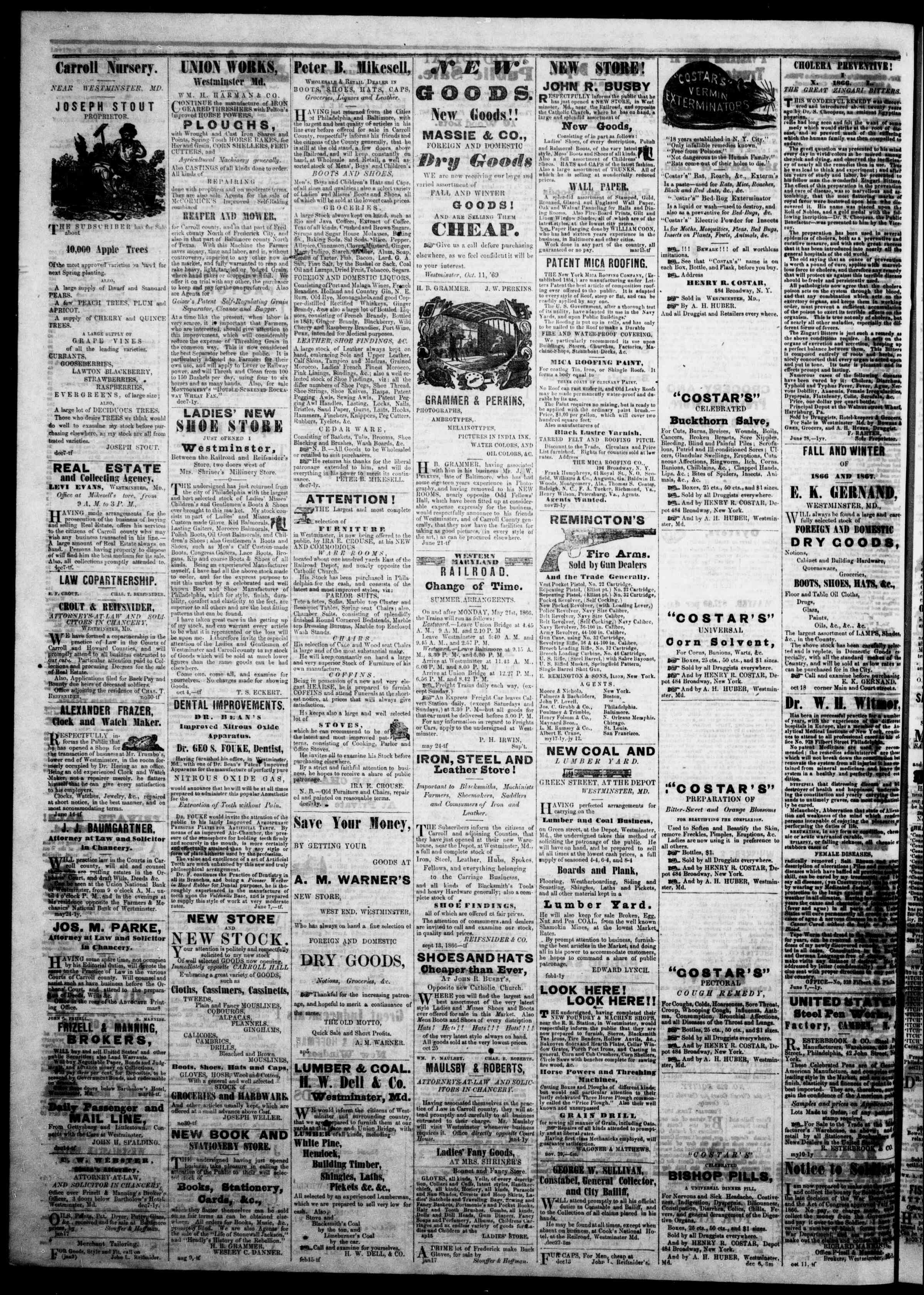 Newspaper of The Democratic Advocate dated February 21, 1867 Page 4