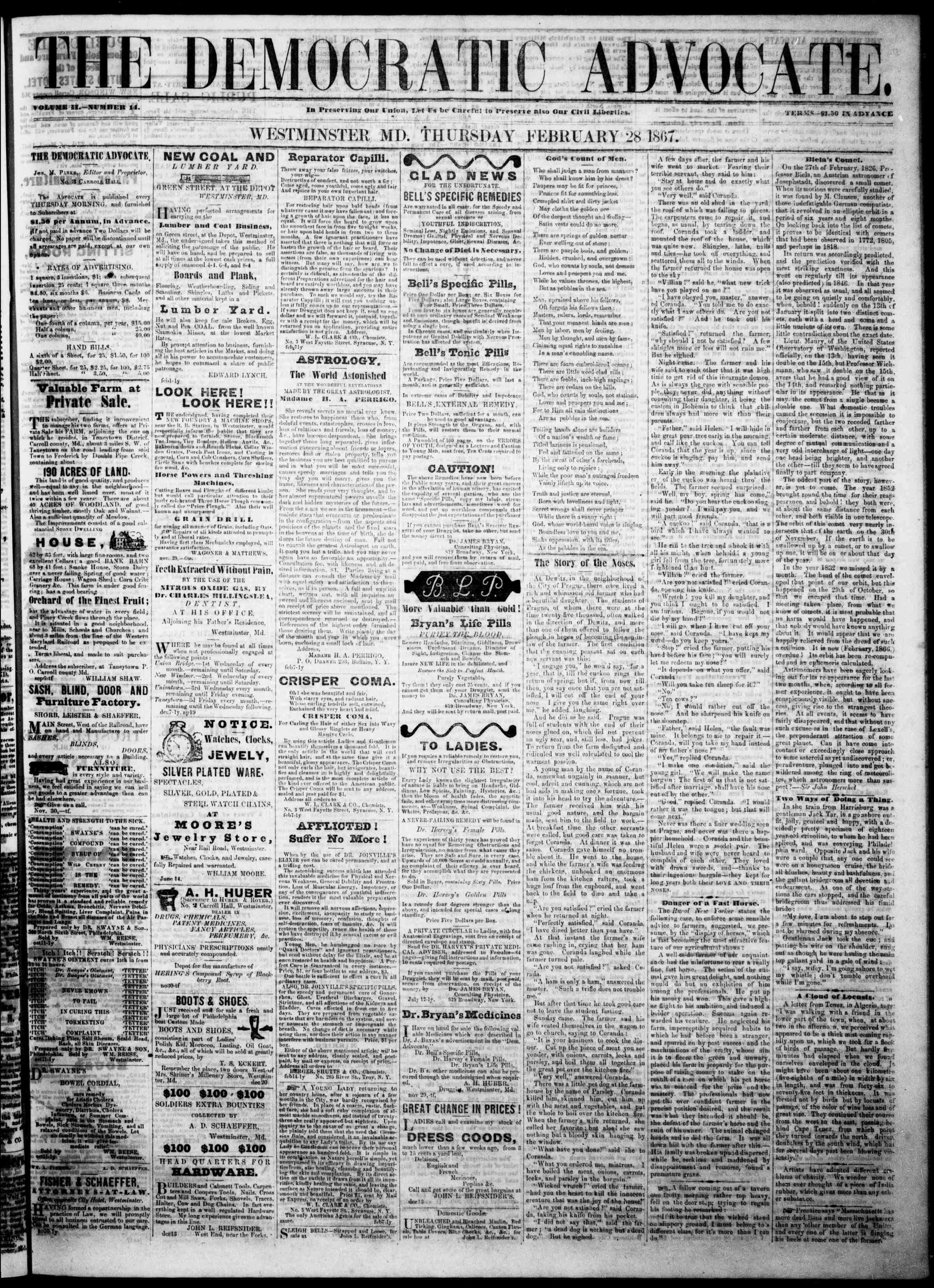 Newspaper of The Democratic Advocate dated February 28, 1867 Page 1