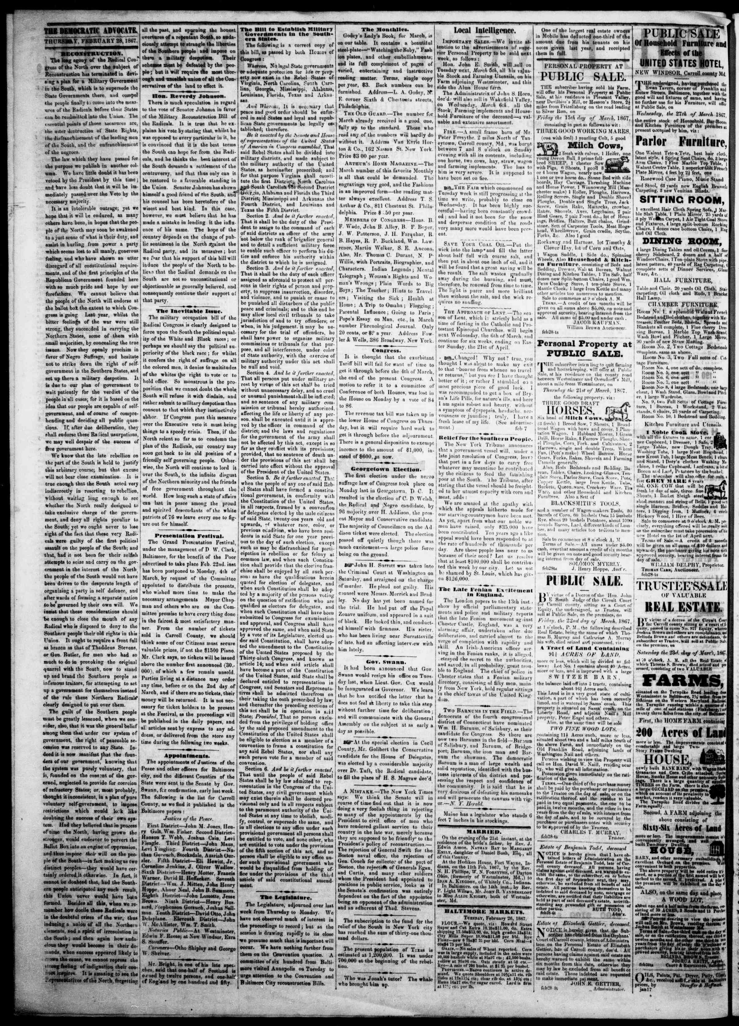 Newspaper of The Democratic Advocate dated February 28, 1867 Page 2