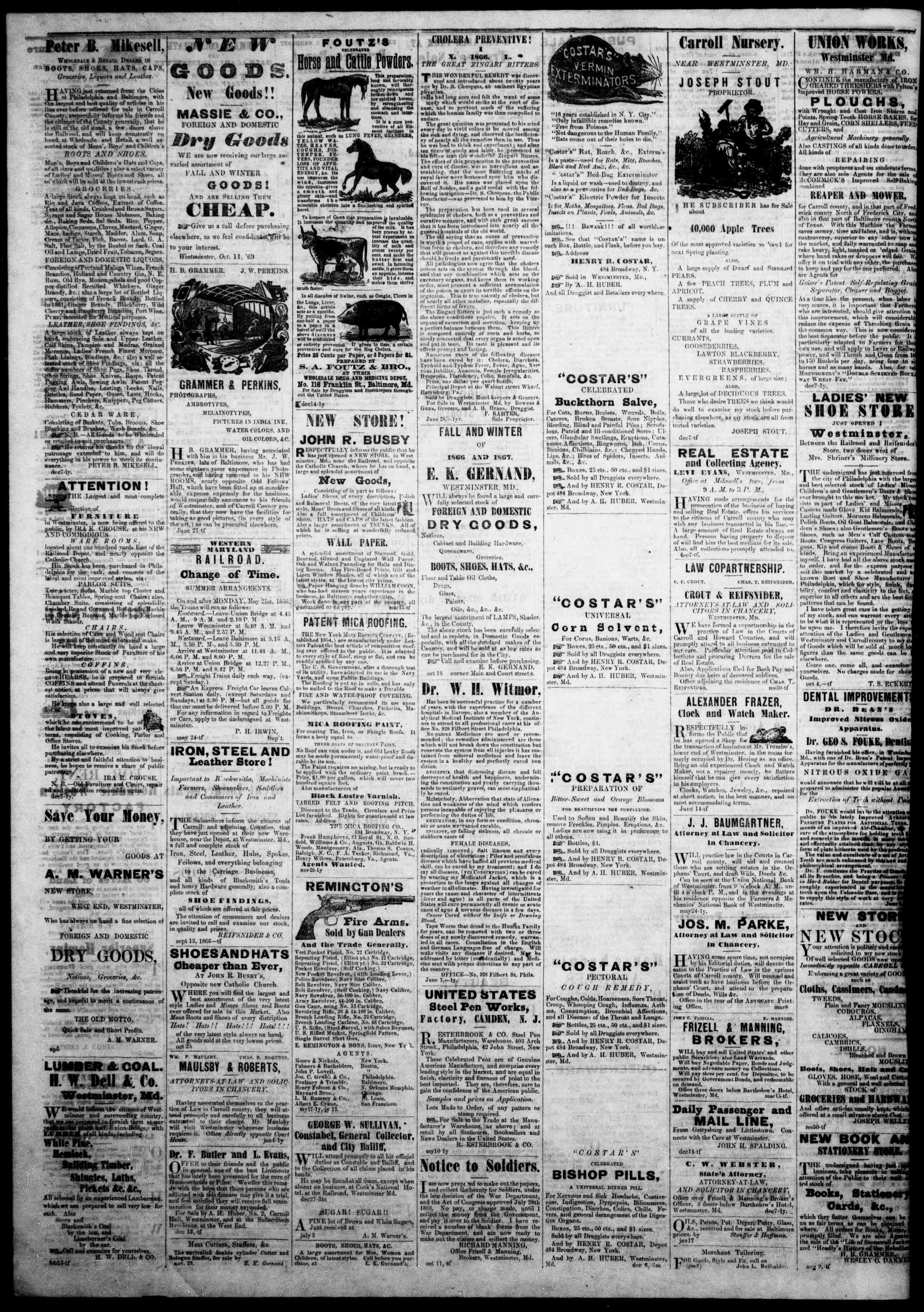 Newspaper of The Democratic Advocate dated February 28, 1867 Page 4